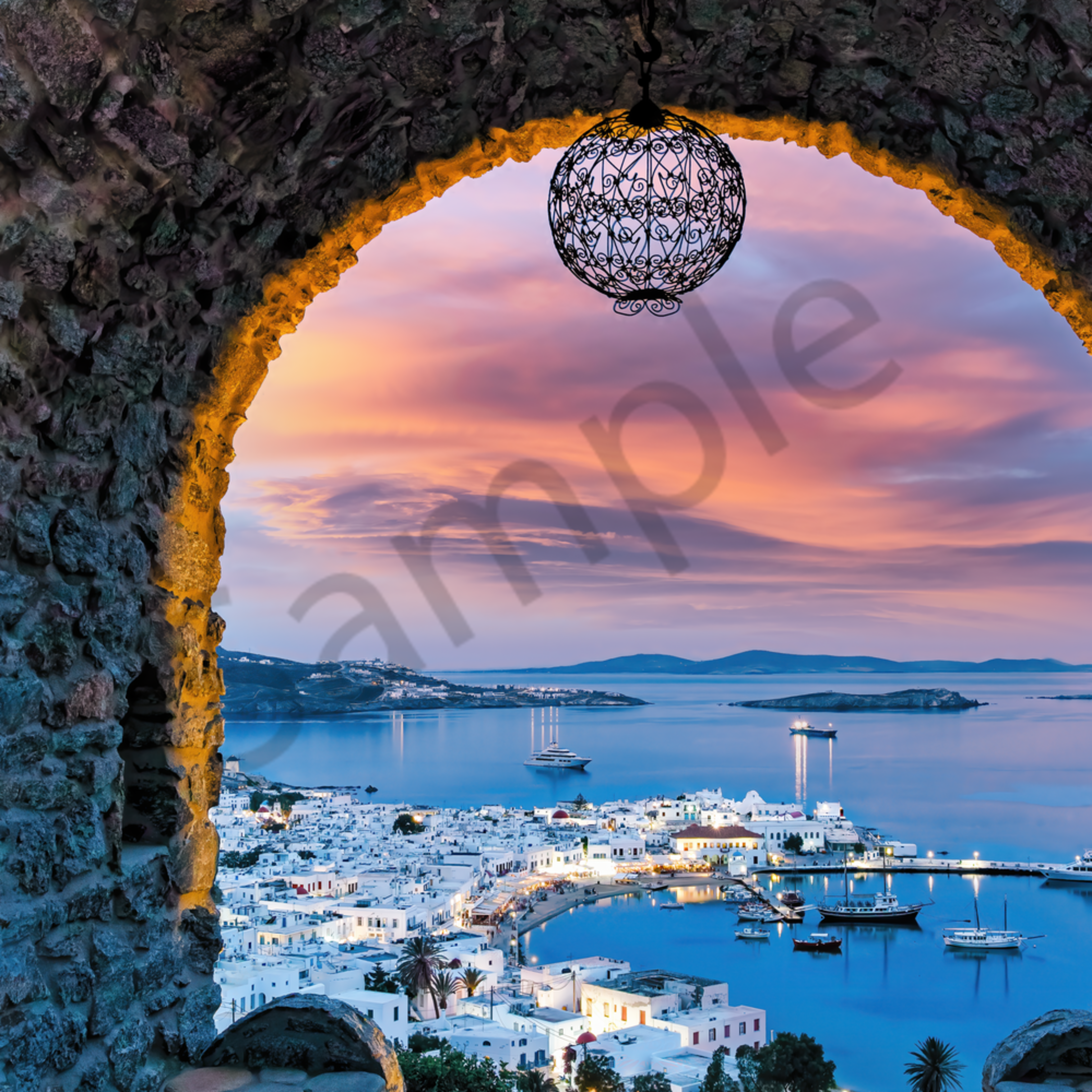 Mykonos from retaurant and arch above town at dusk greece c7y6p5