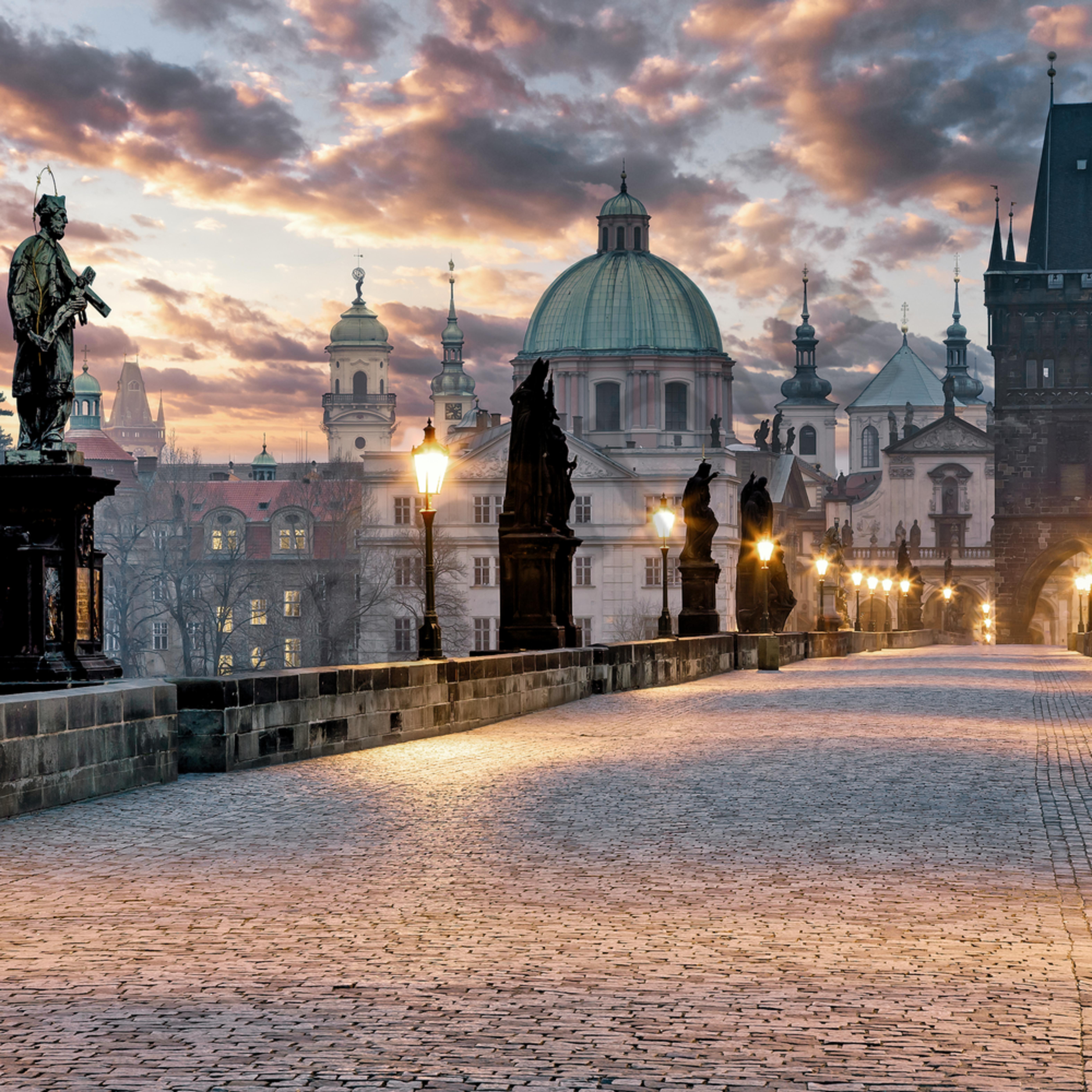 Charles bridge prague czech republic sunrise heli2f