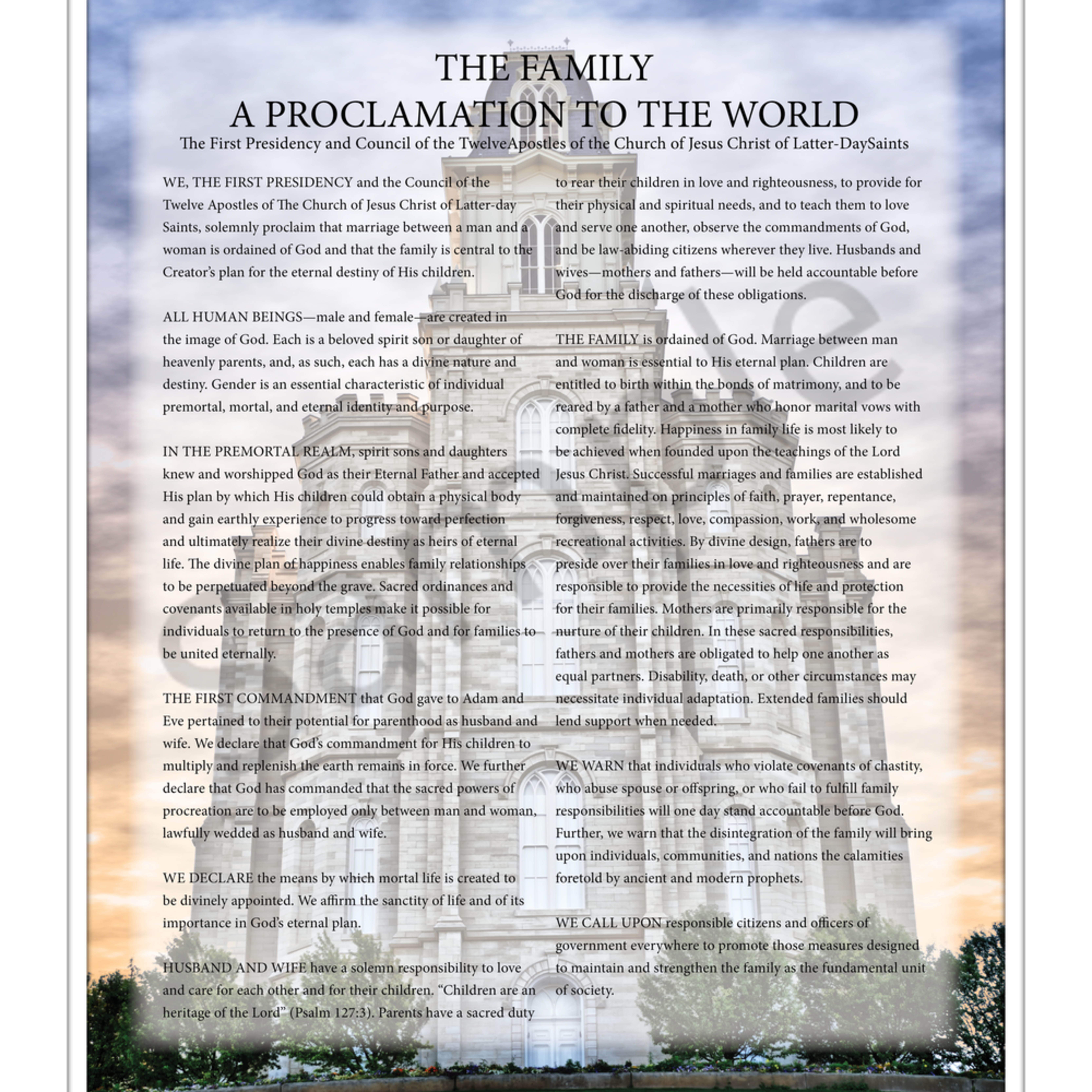 Family proclamation dmznam