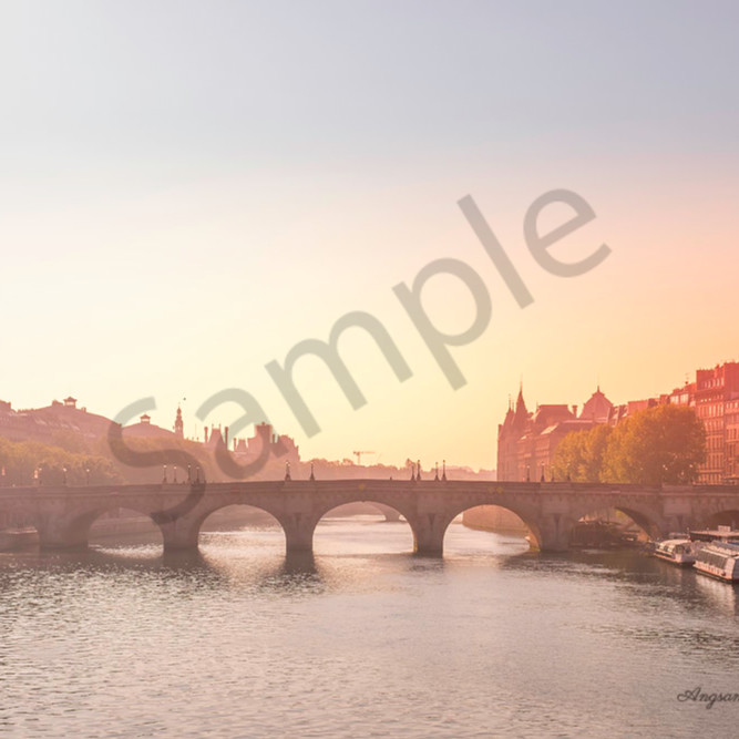 Sunrise over the river seine with signature drvhkt
