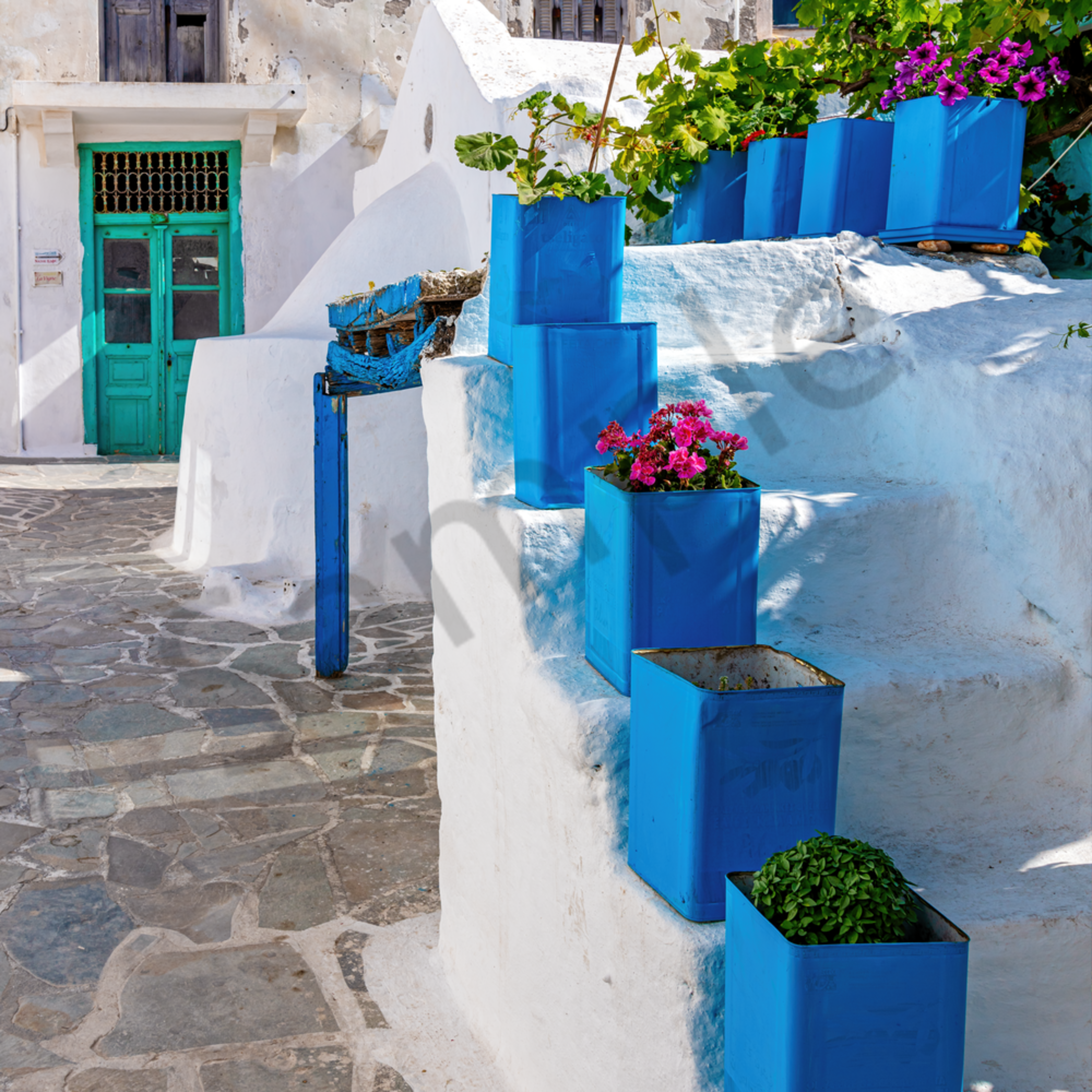 Blue pots and doors naxos greece szxbry