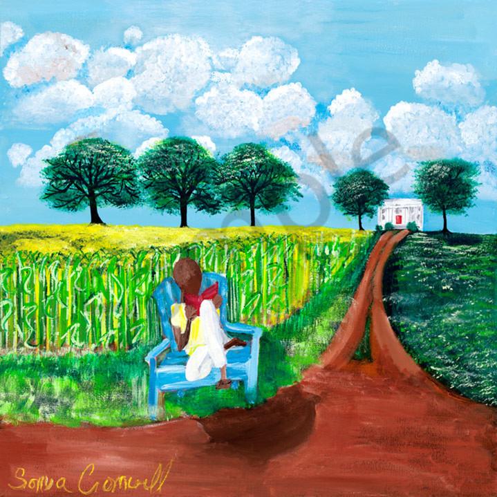 Man by a corn field sk6o0q