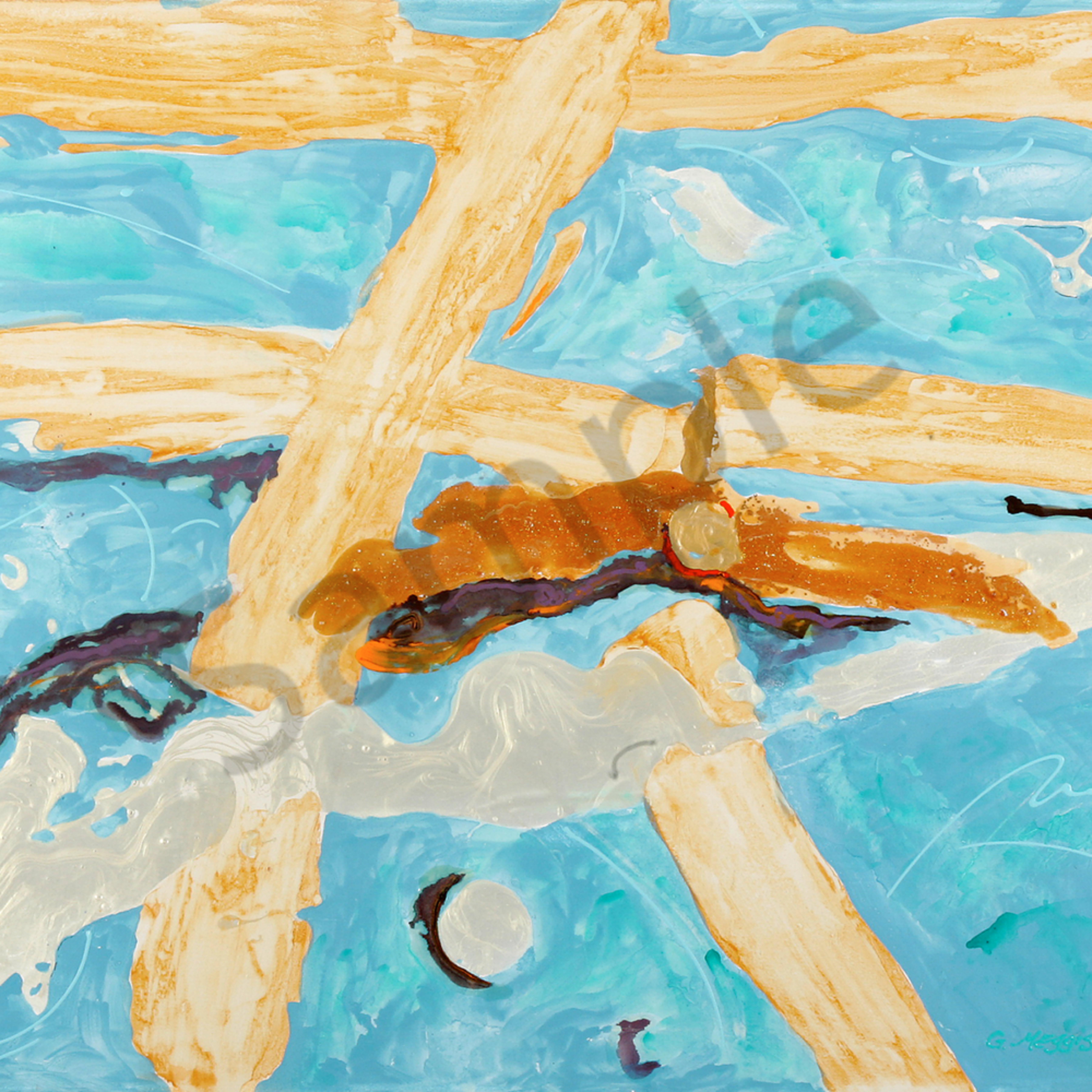 Icarus rising 36 x48 acrylic hitc9t
