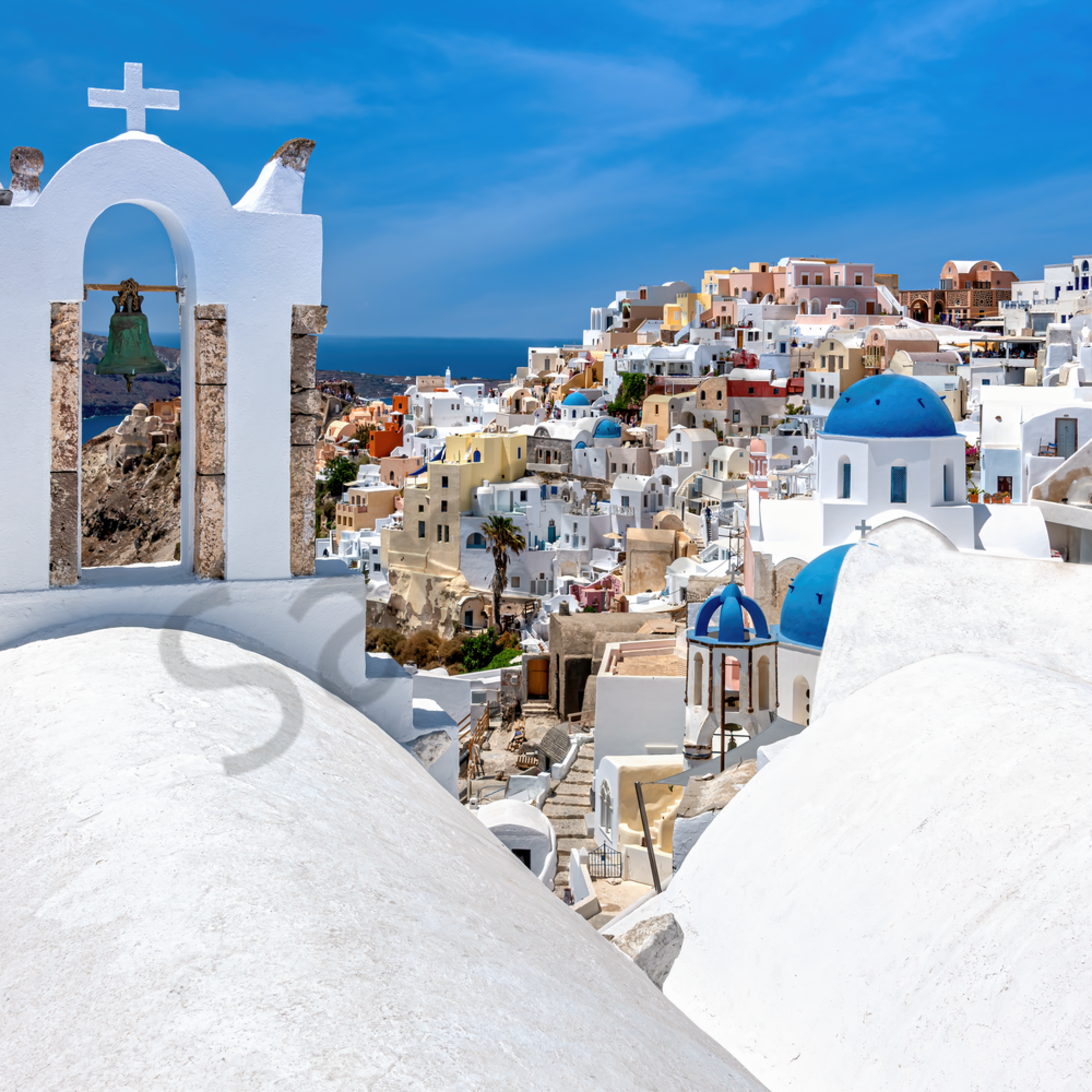 Blue domes overlook oia santorini greece udvqjv