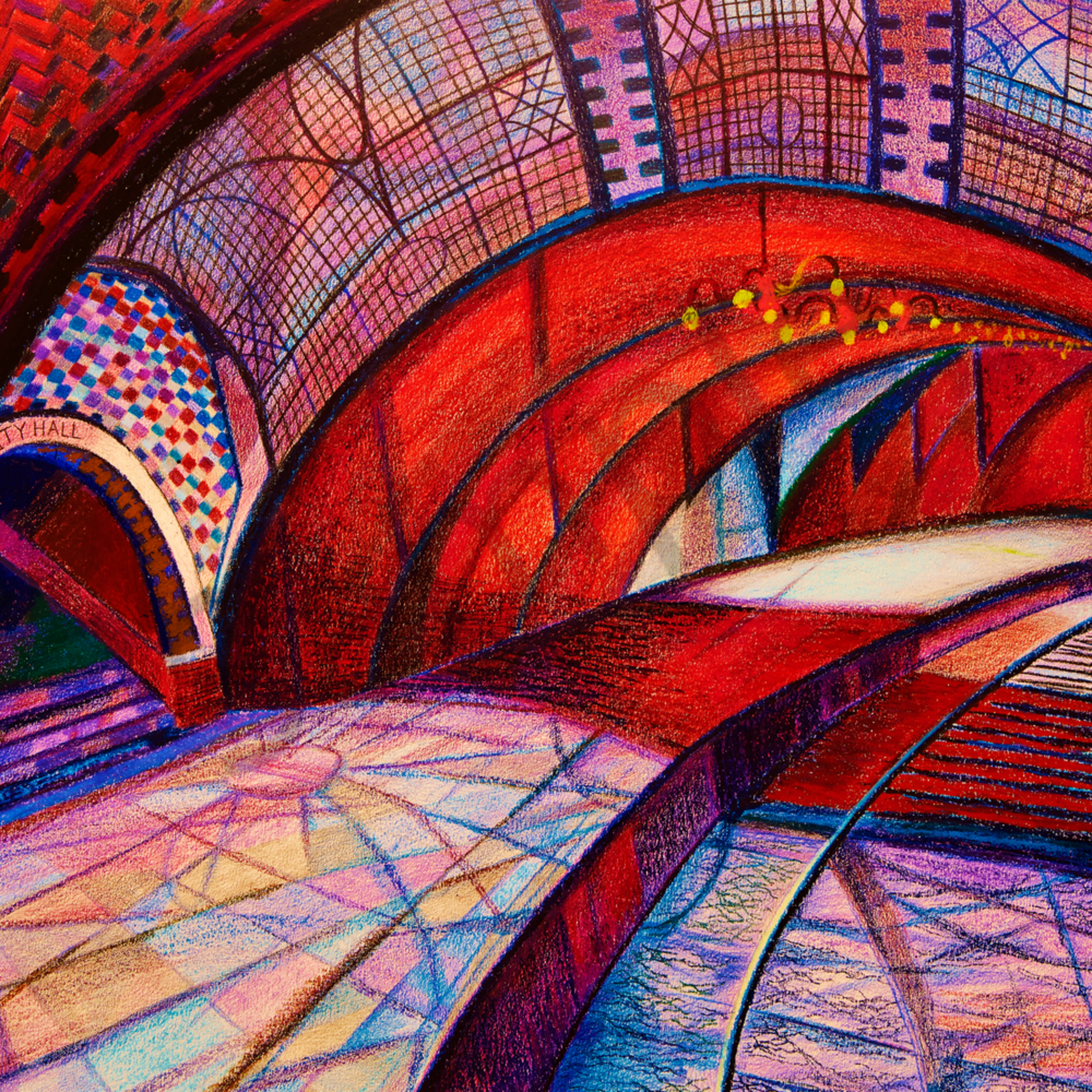 The red arch of nyc hall subway tqp5ia