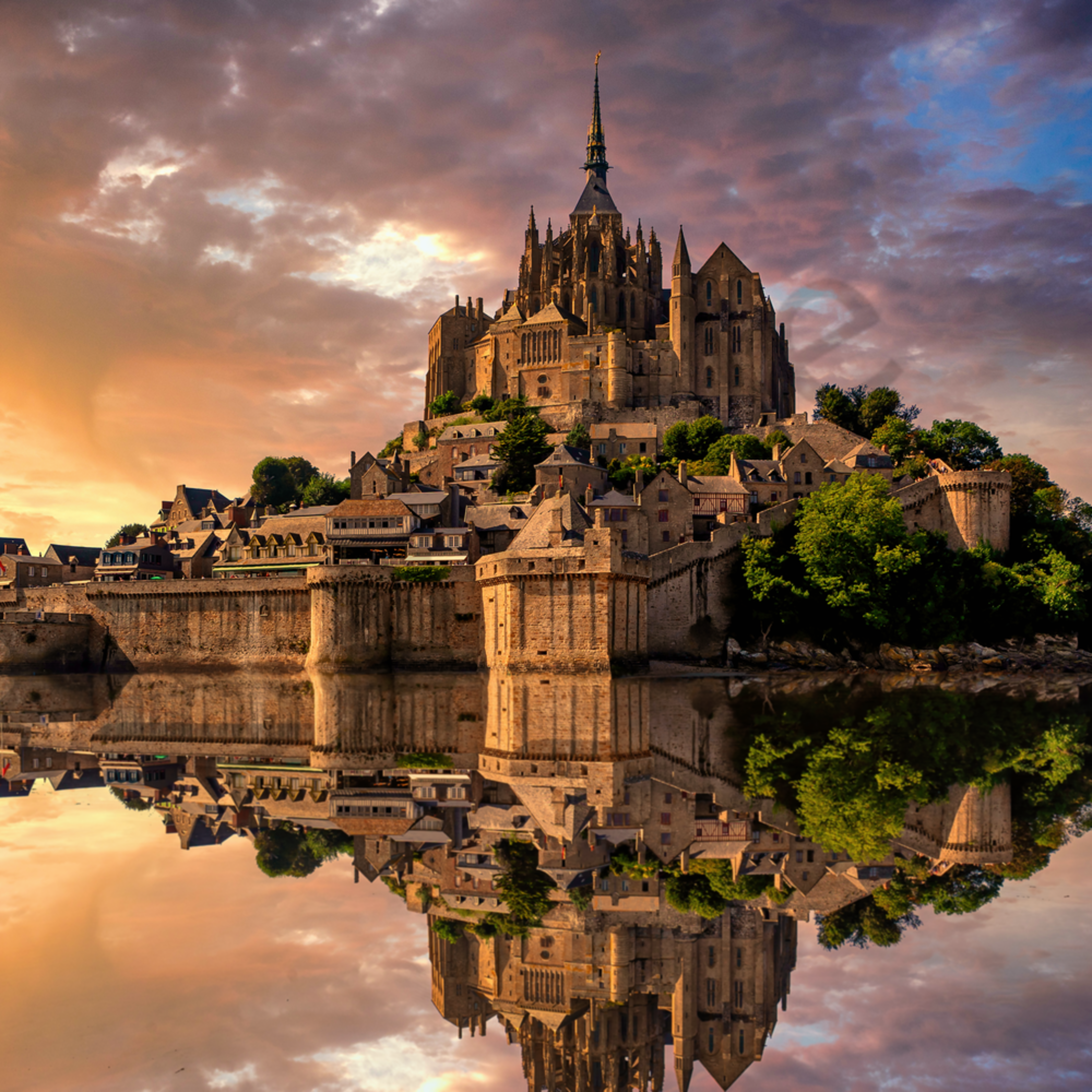 Mont st. michel during afternoon low tide normandy france idr8gl