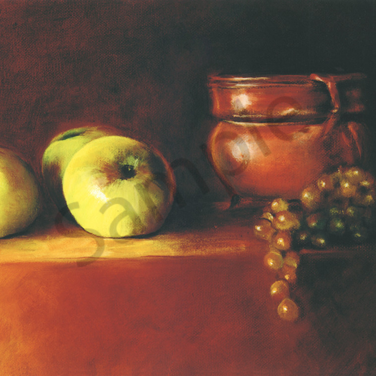 A copper pot apples and grapes houqcw