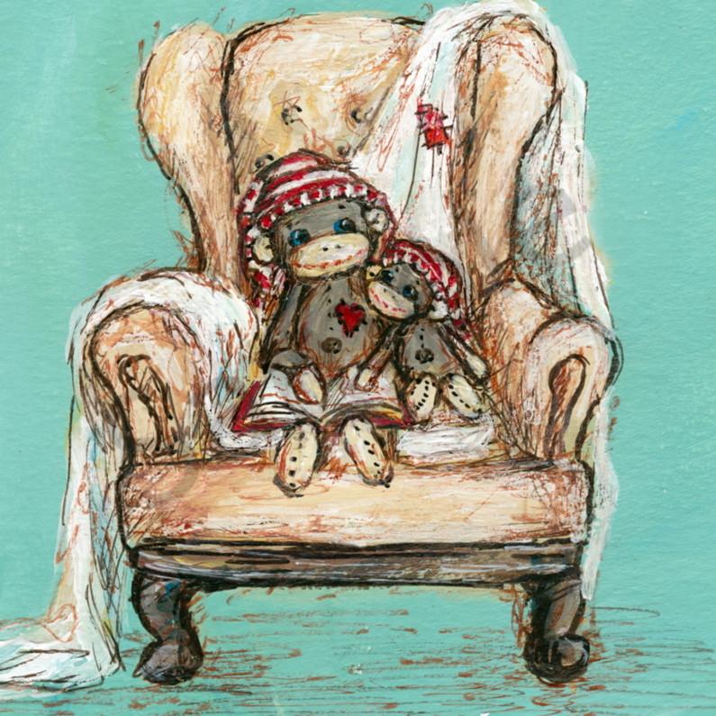 Sock monkey reading y6zgtz