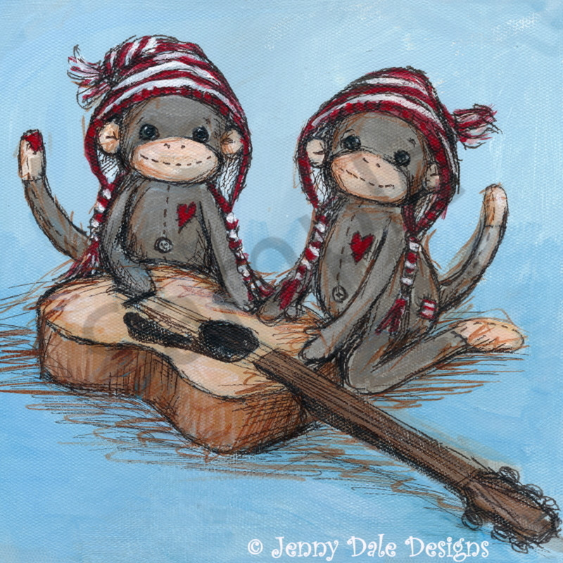 Sock monkey twin guitar ho0iva