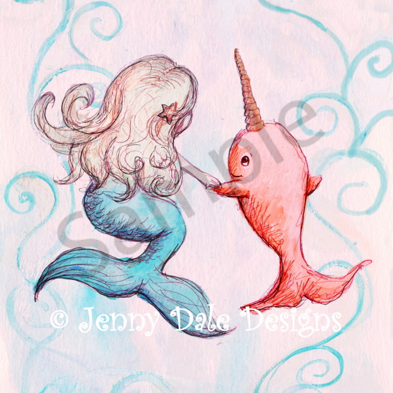 Mermaid and narwhal sample pkoubx