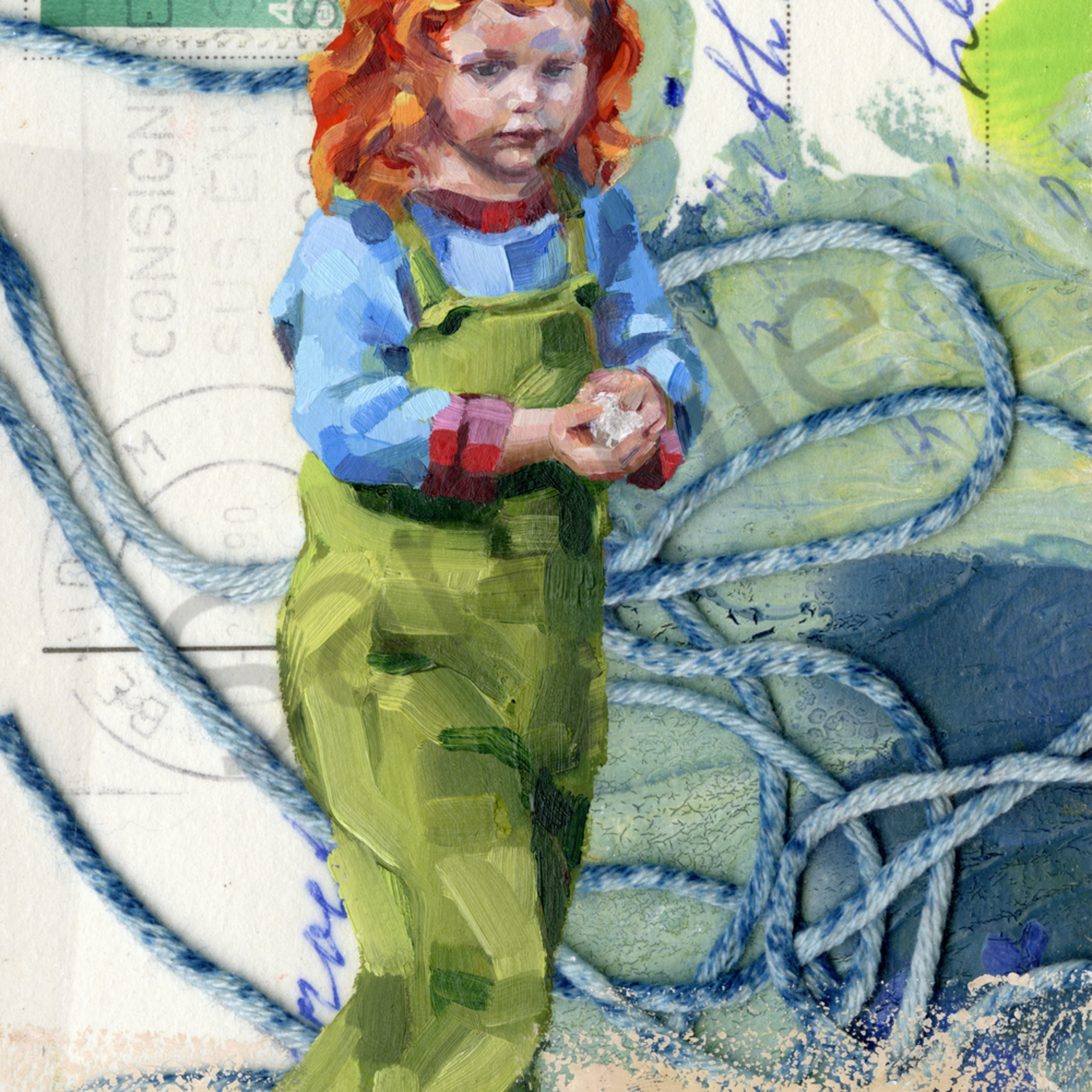 Postcard redhead girl in green zcixvt