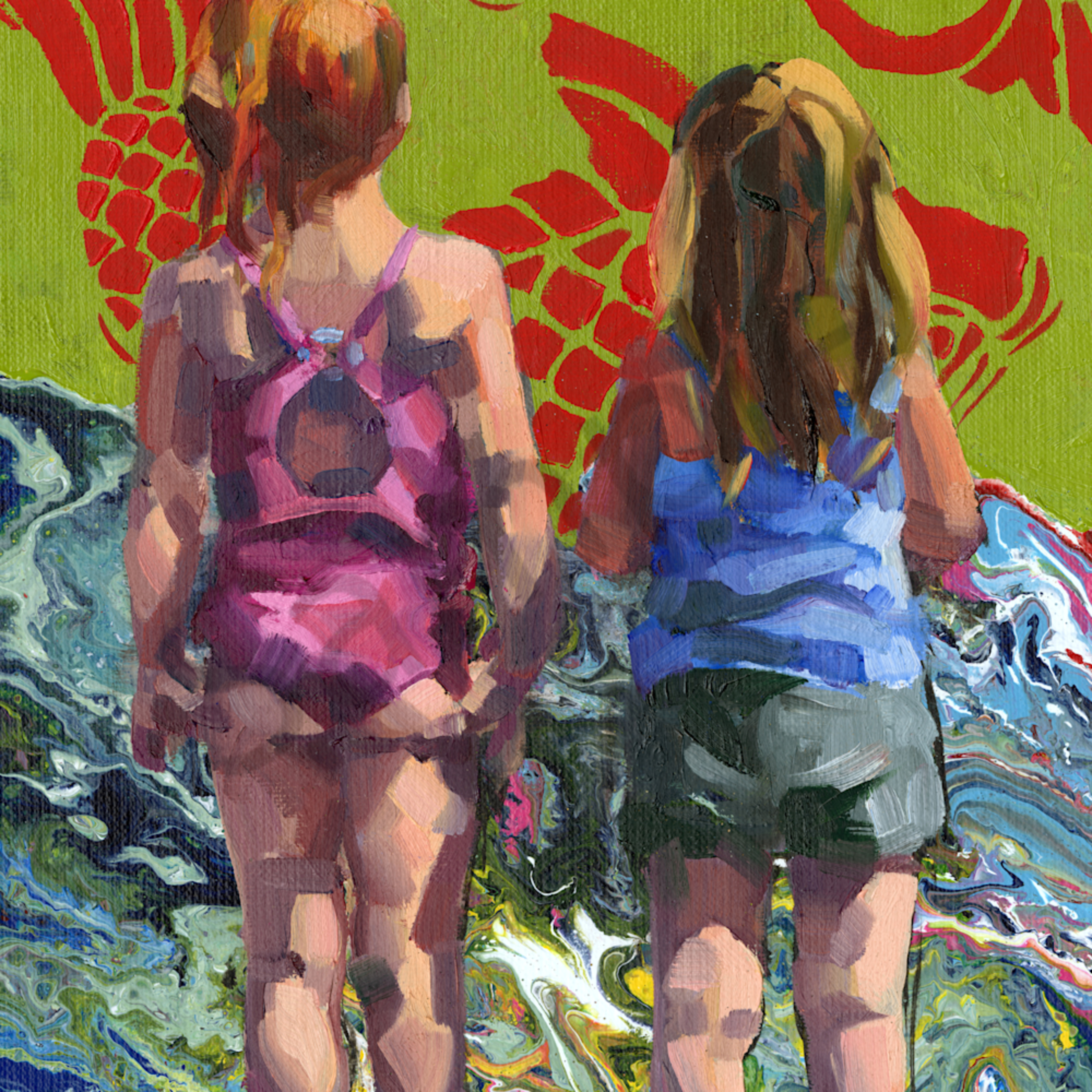 Beach sisters with fishes mtw1r2