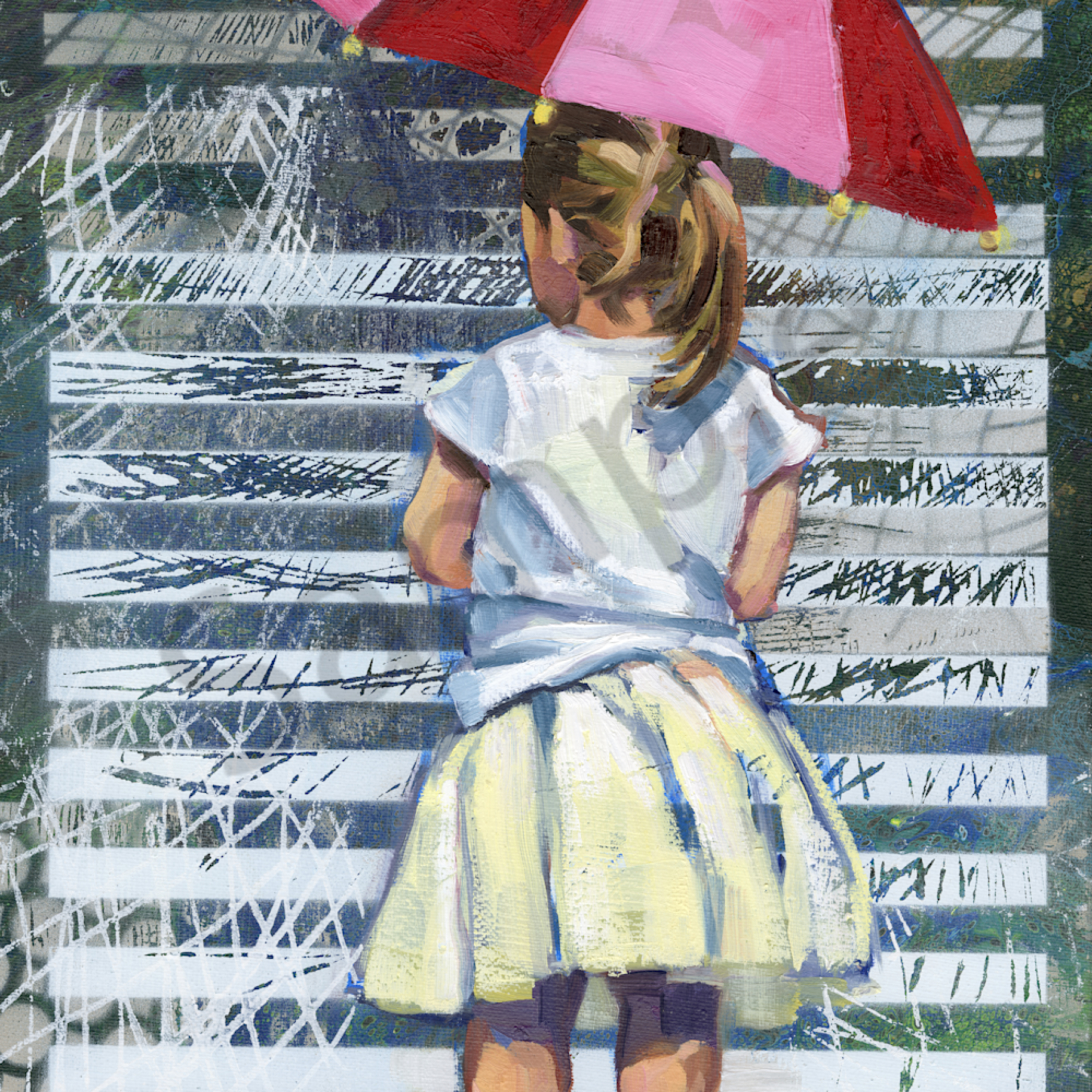 Girl with pink red umbrella qdomew