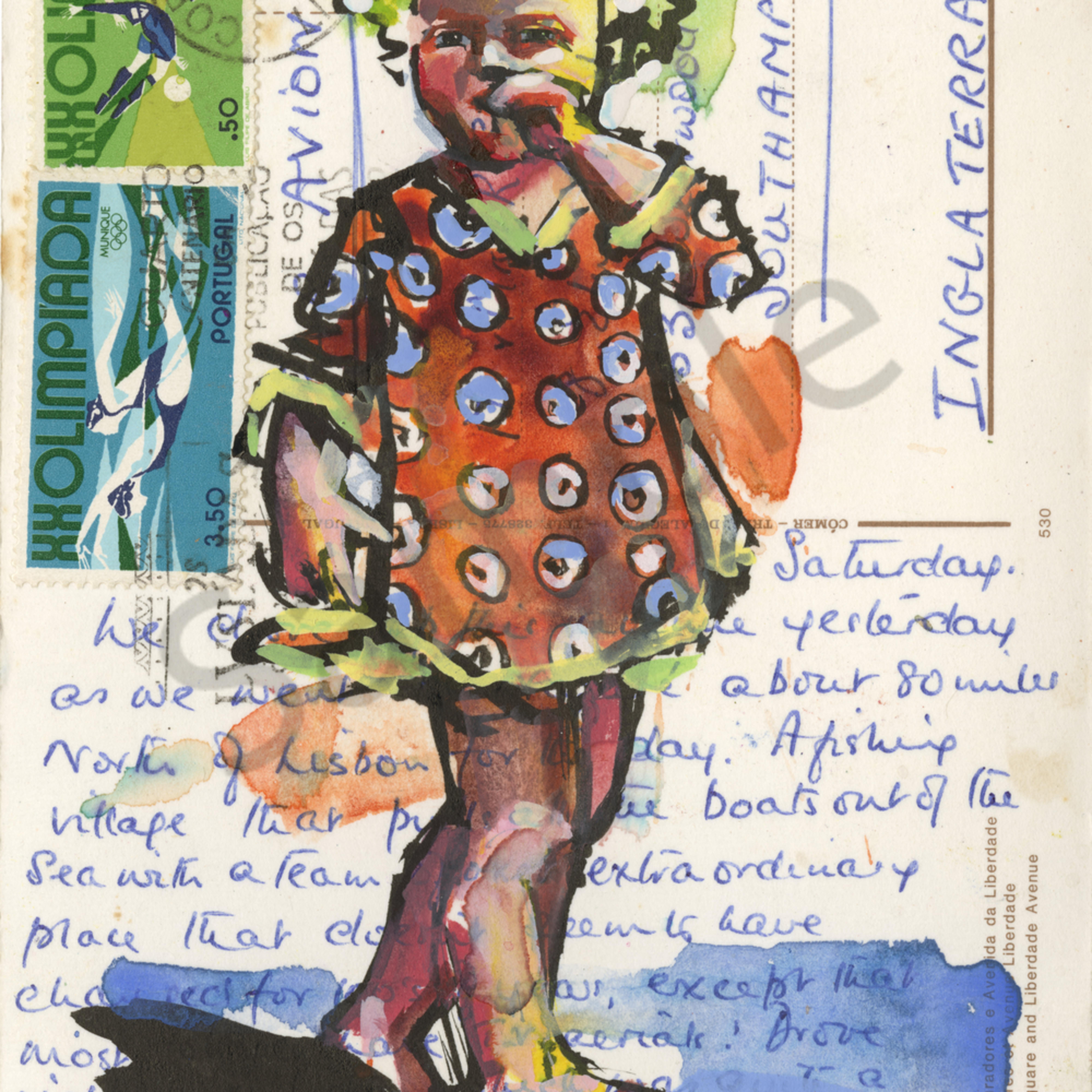 Postcard polkadot girll u6iqrg