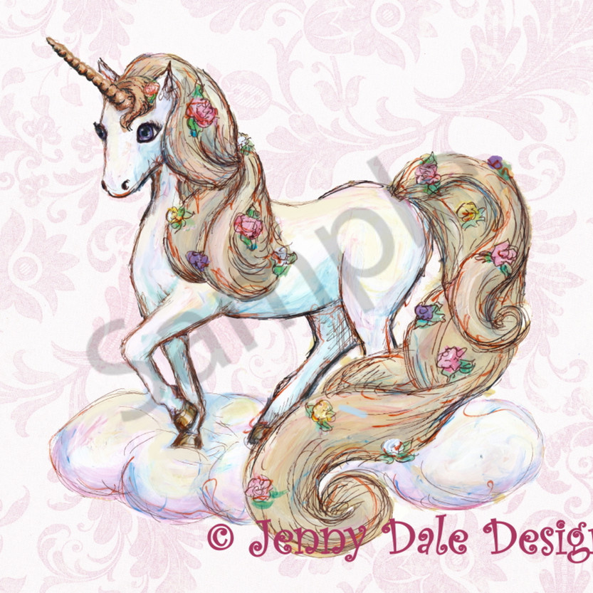Sampleunicorn standing pink floral pretty horn  fhi5aa