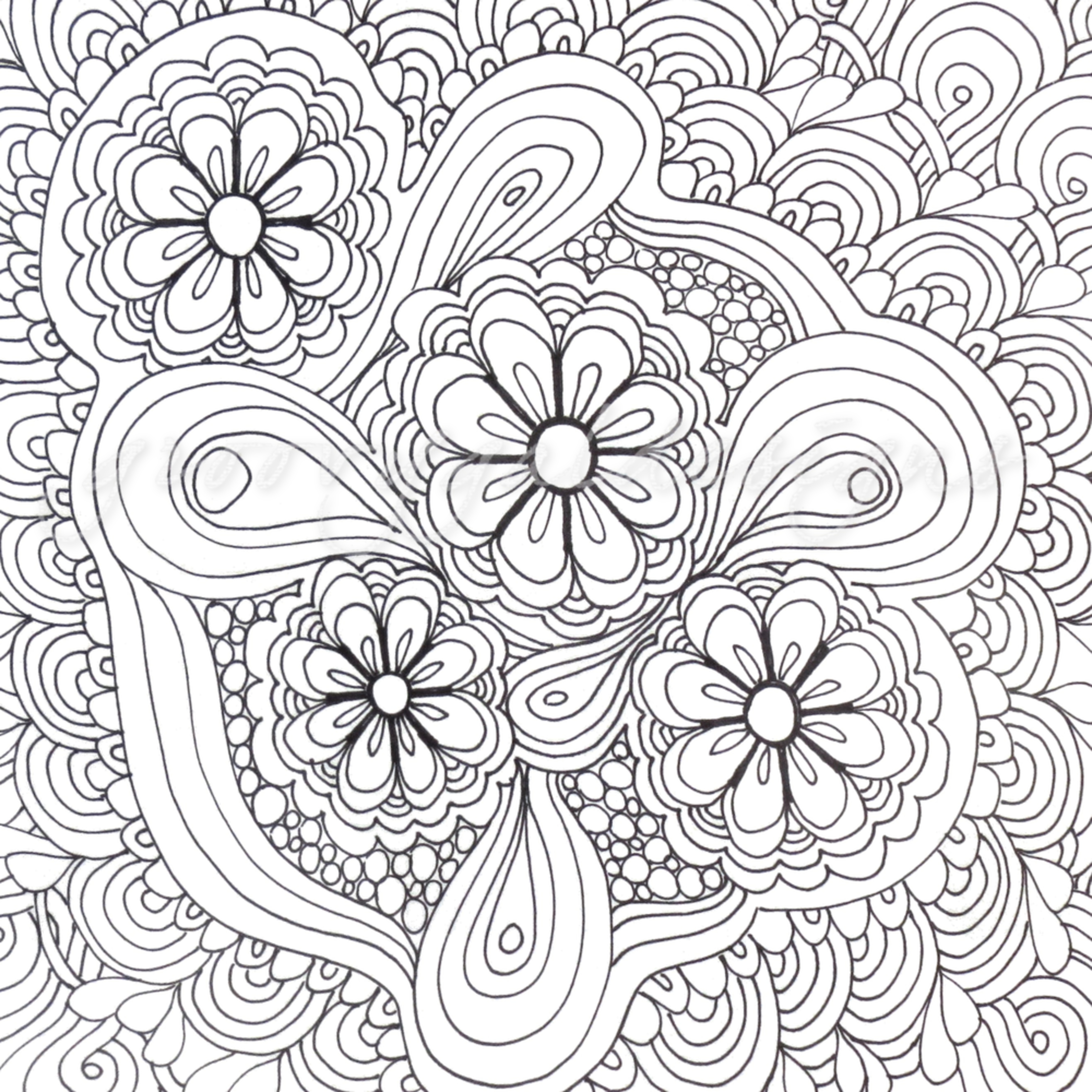 Flower tangle color it utg6y8