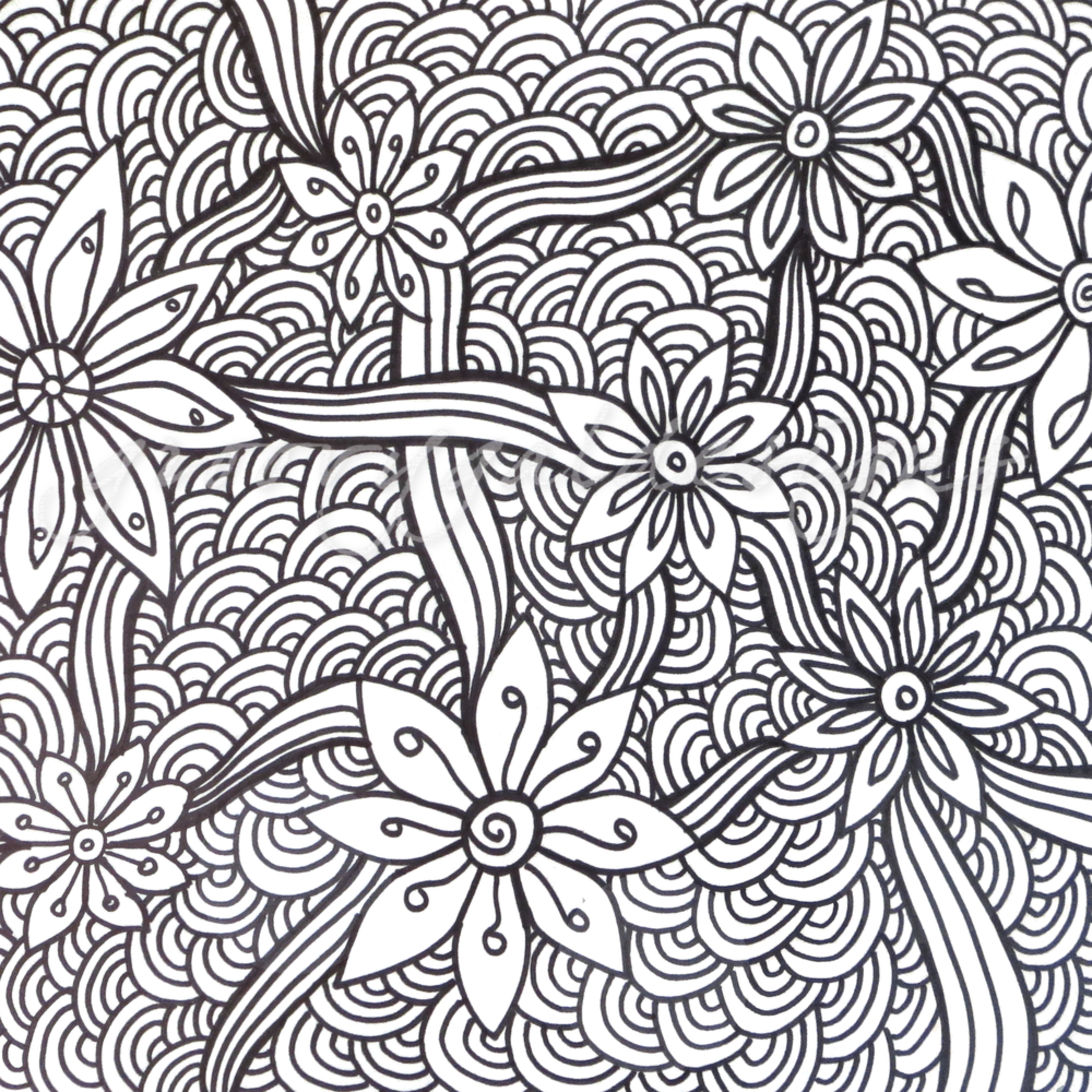 Flowers and ribbons color it a53g7a