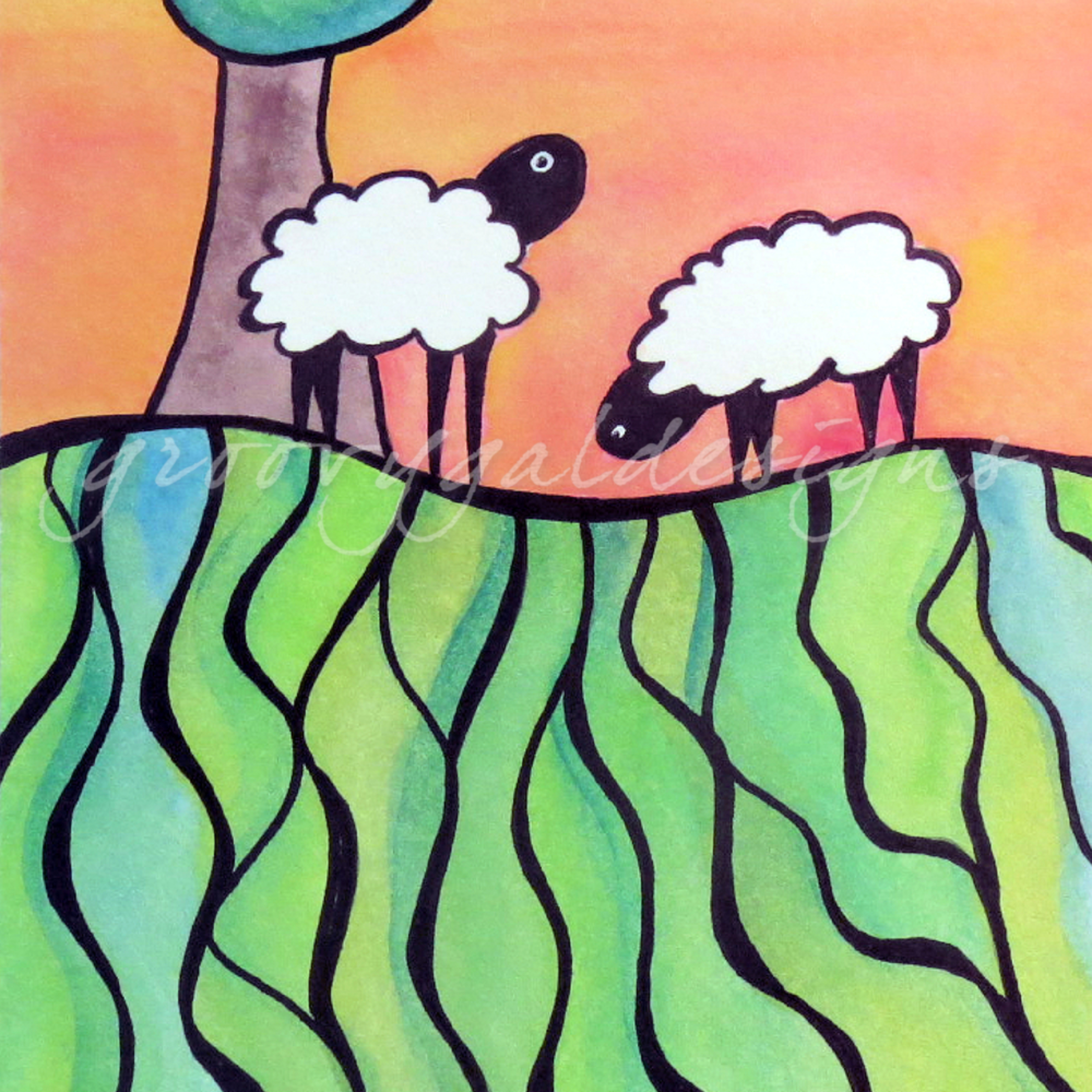 Sheep on a hill 1 lopxdg