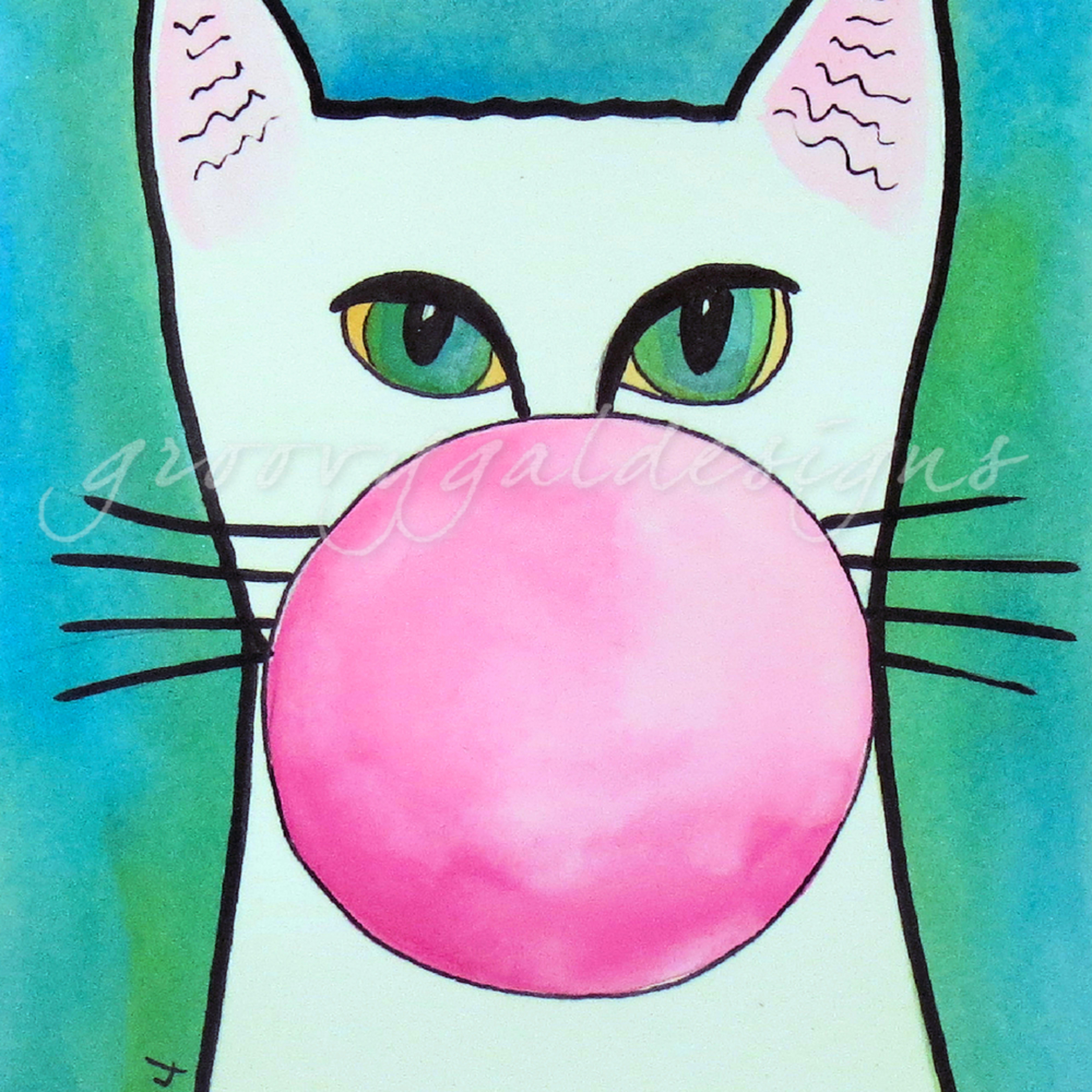 Bubble gum cat on blue wrjjy9