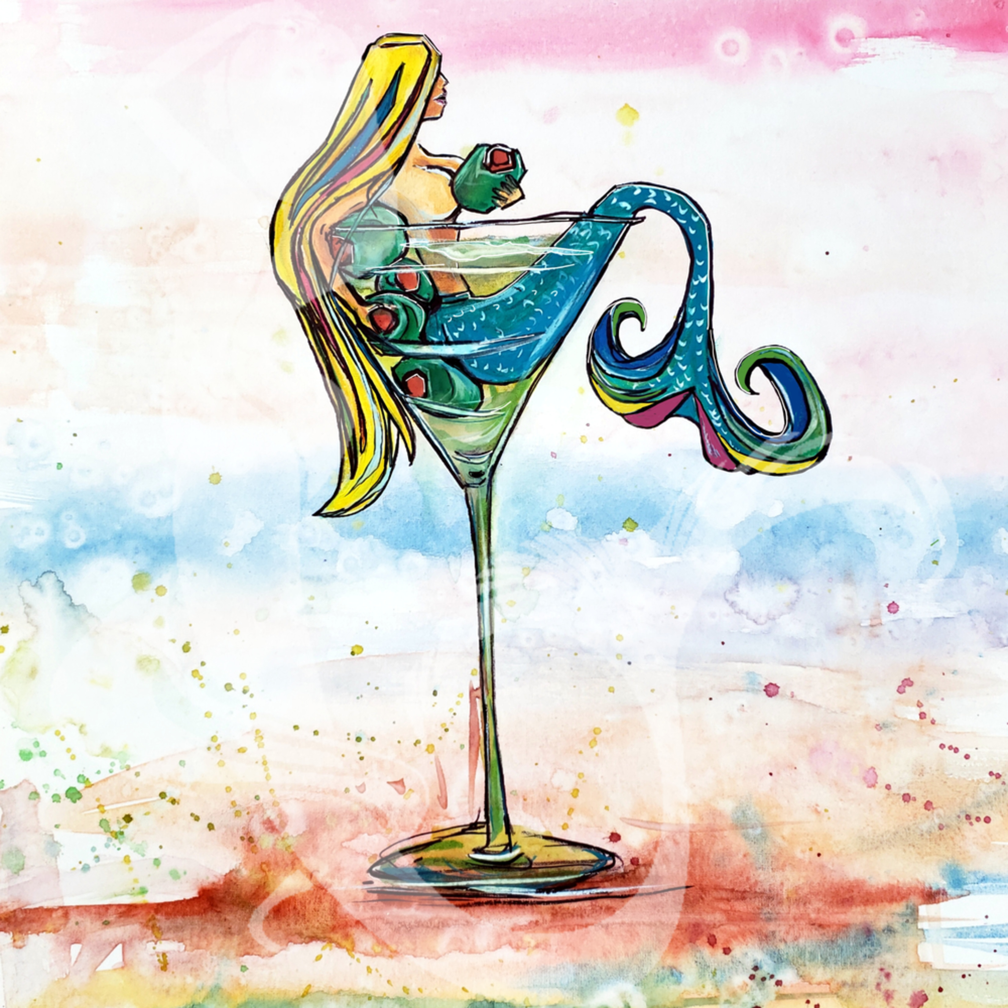 Mermaid olive martini 11x14sign nf2ch1