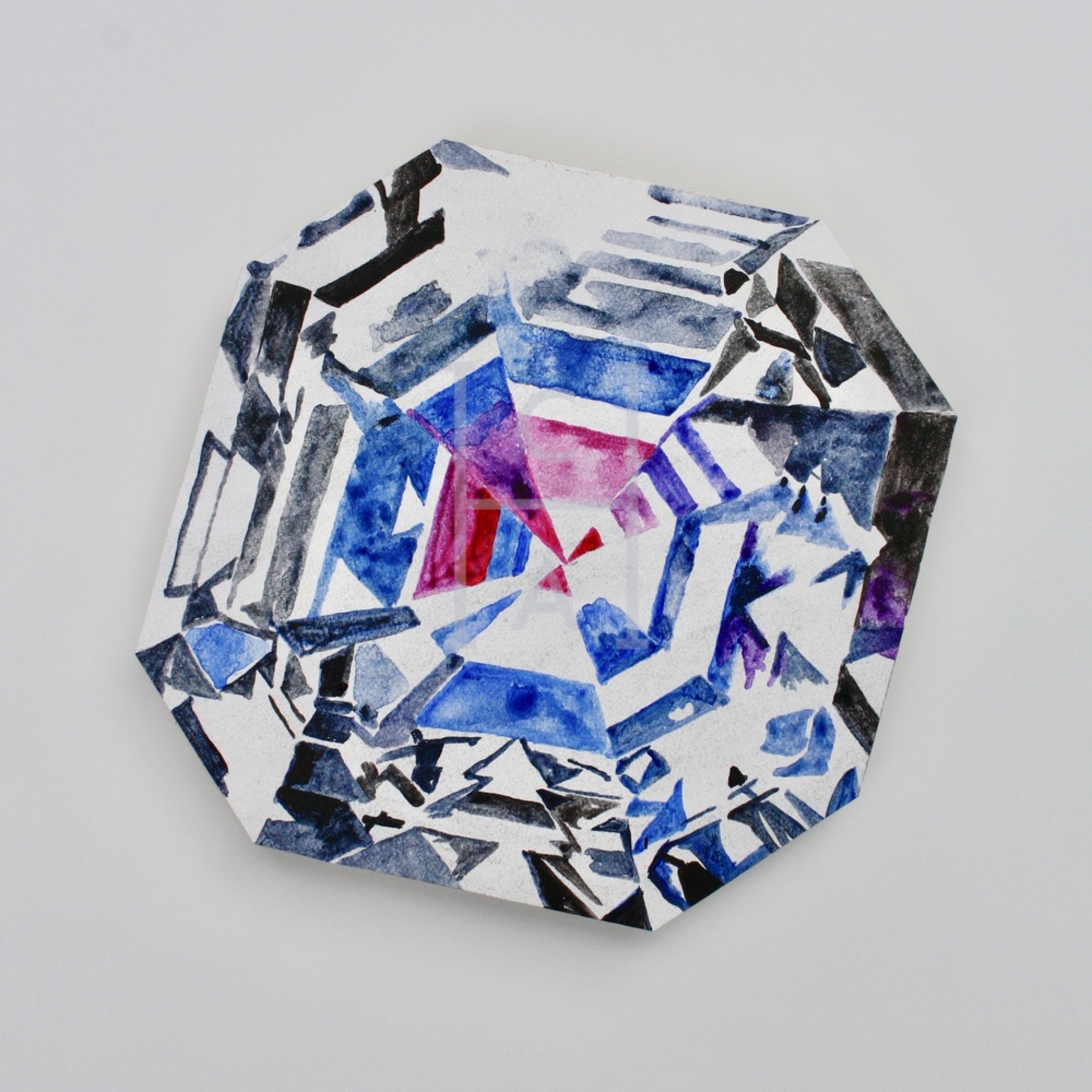 Jyothi asscher cut diamond acrylic and diamond dust on plexiglas m8bqxg