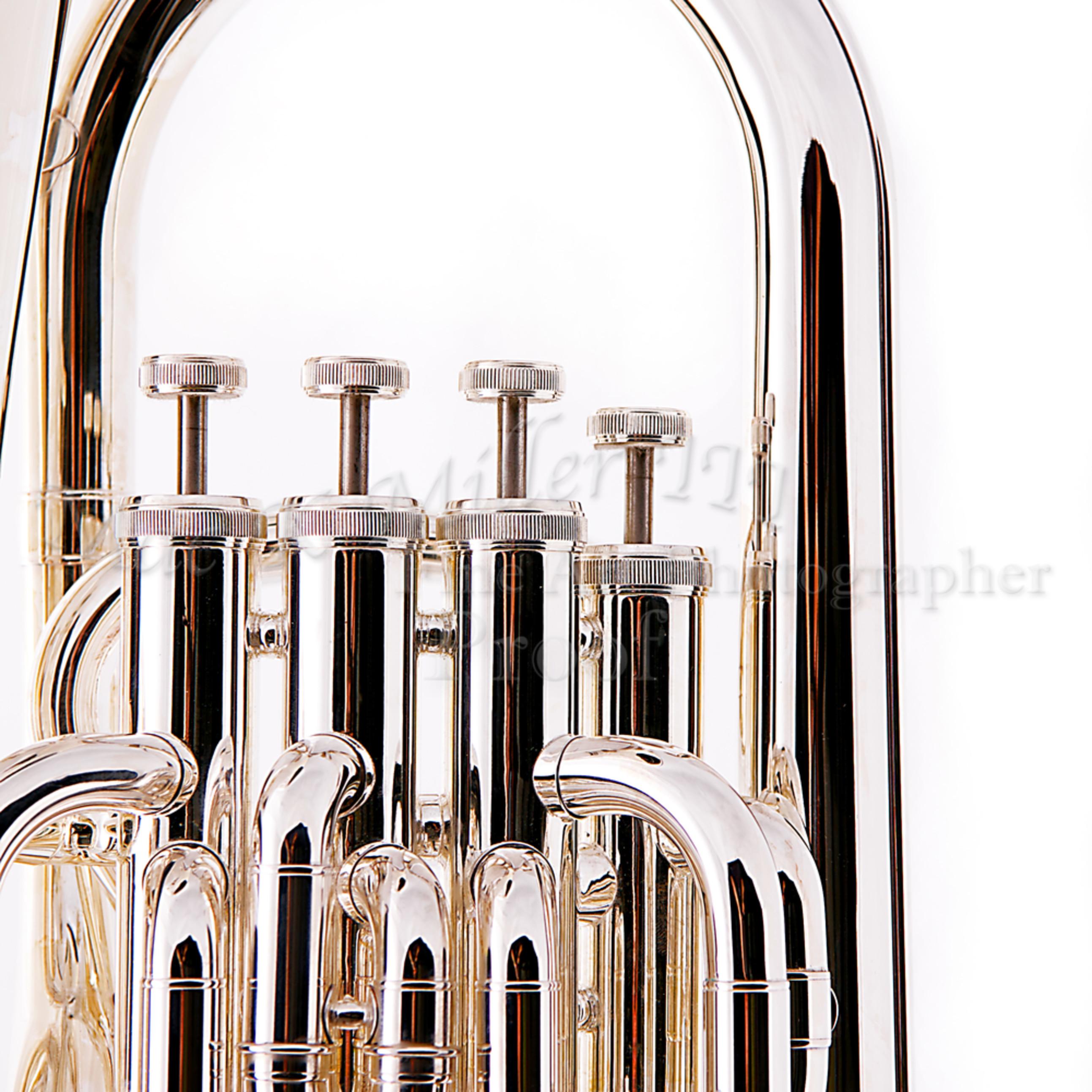 Silver tuba euphonium on white wall art bk8 dvnom9