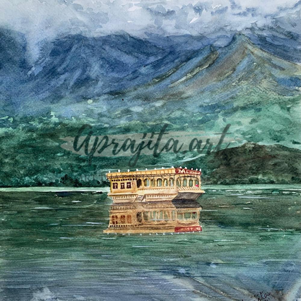 The calm of dal lake srinagar print c0uhfr