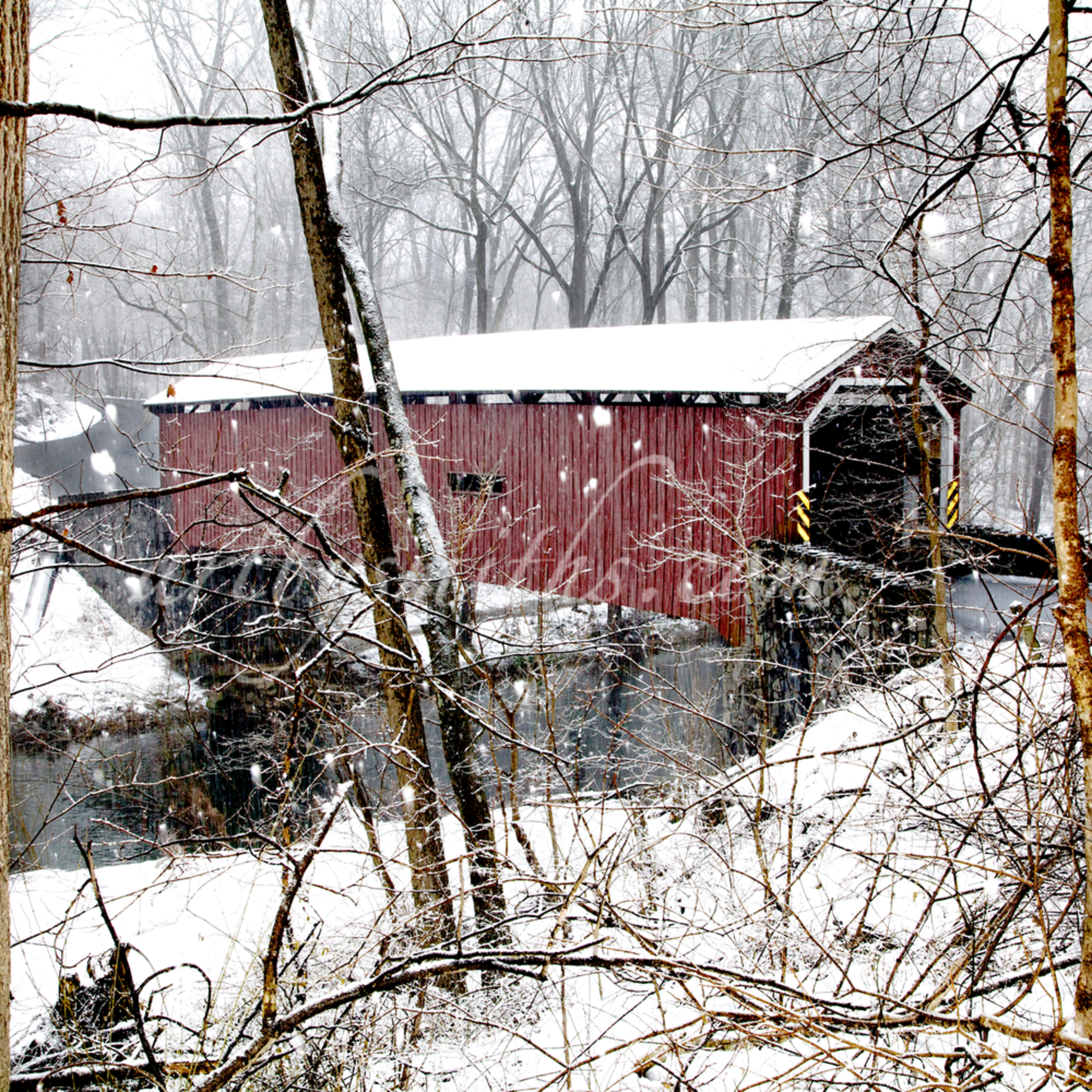 Lancaster co. covered bridge in snow south side profile yt9wha