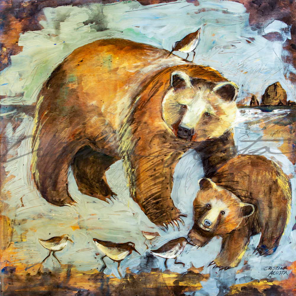 Mama bear and cub with sand pipers jwu4lv