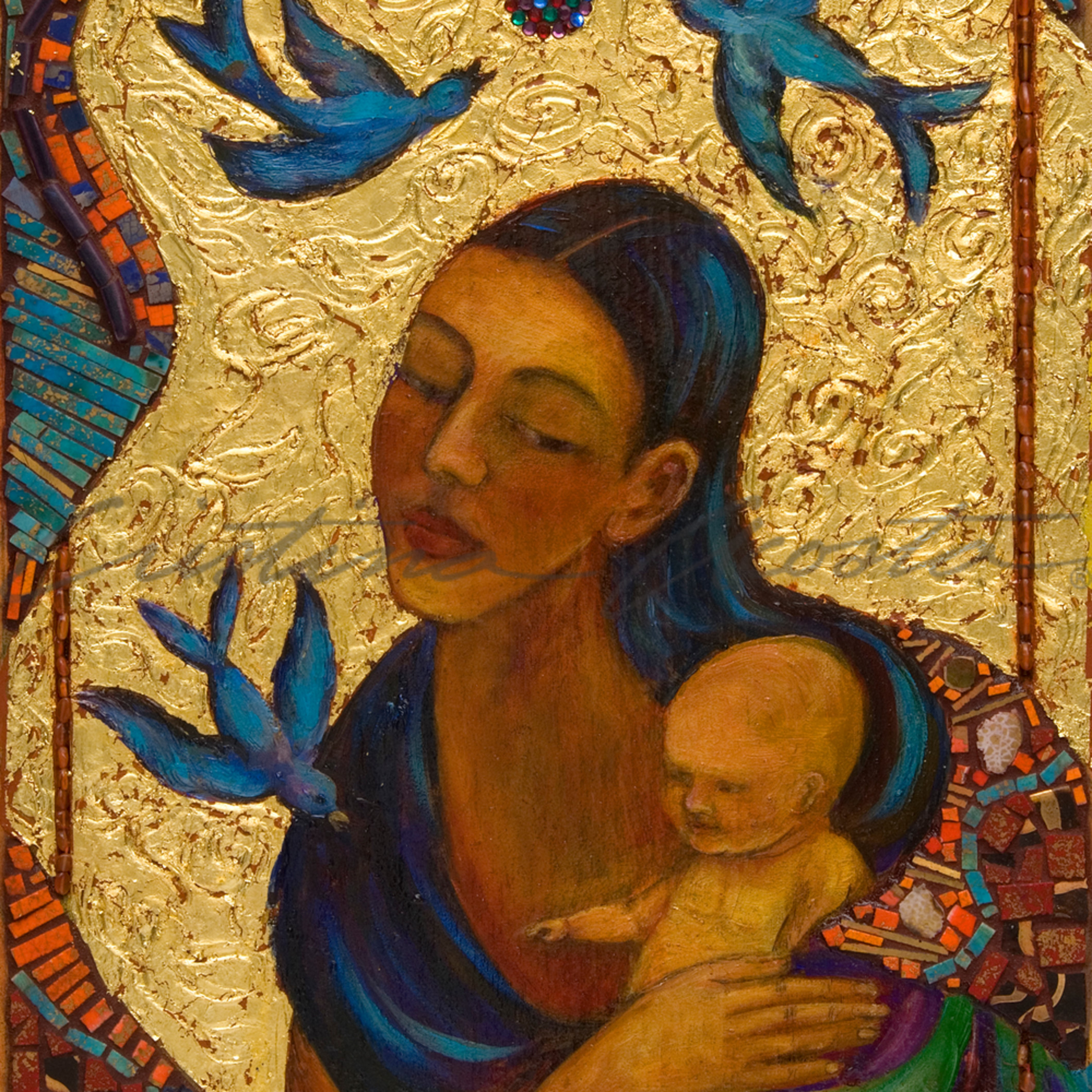 Guadalupe with child and birds mremwq