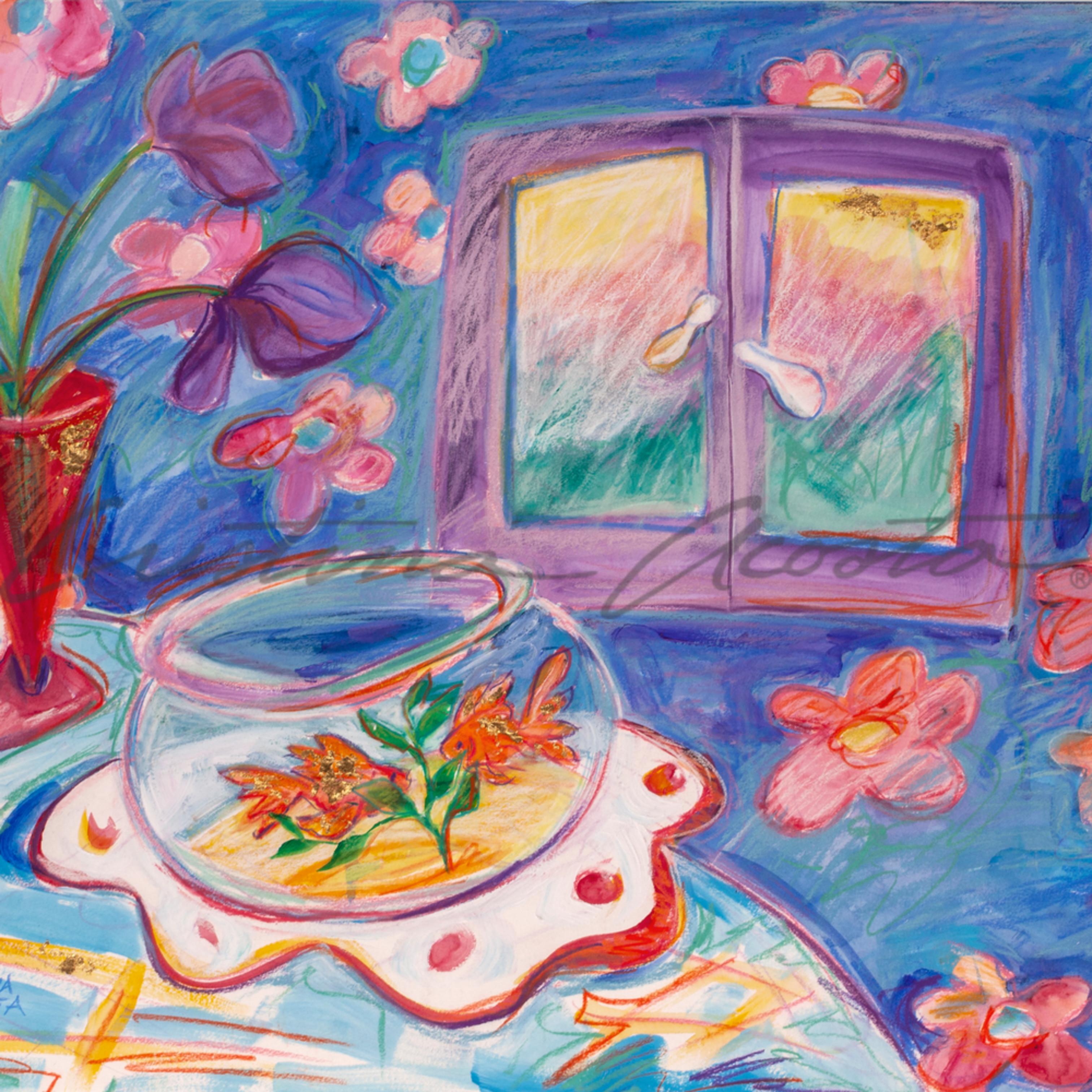 Goldfish and purple daffodils cristina acosta kzd5mg