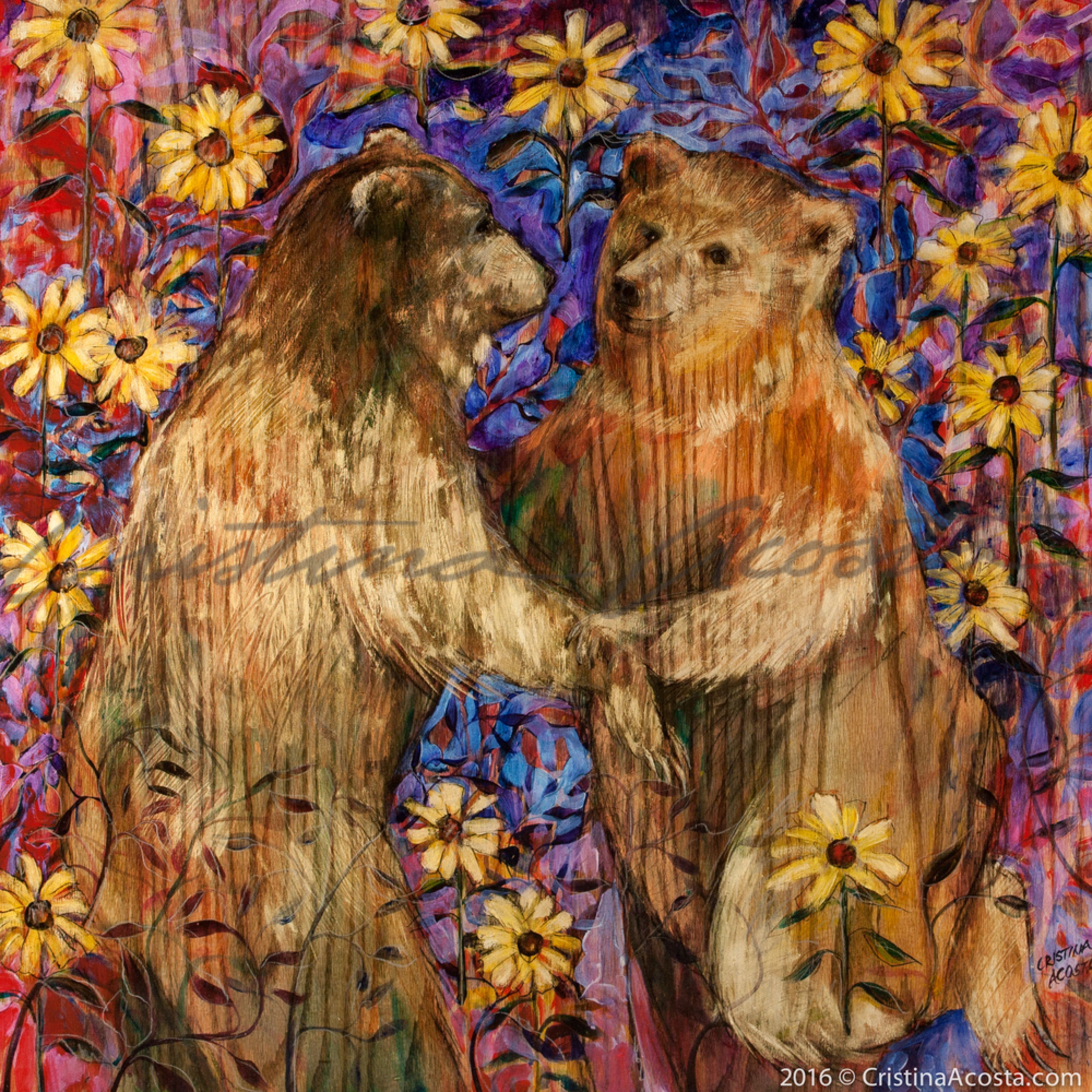 Bears in love dancing in mules ear flower field uuiaim