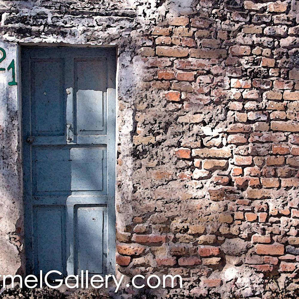 Blue door and shadows dokoxk