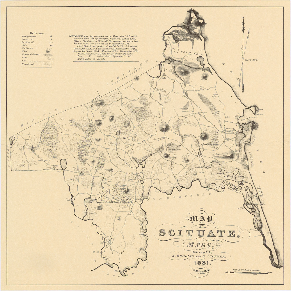 Map of scituate 1831 23x23 cc1nt9