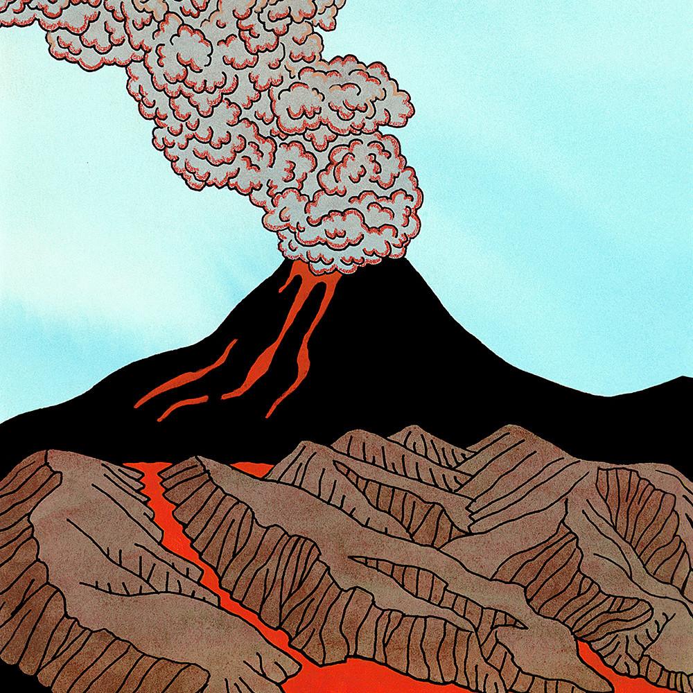 Cloud of steaming lava eiloie