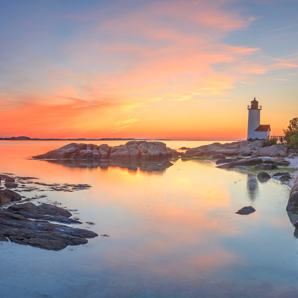 Annisquam lighthouse sunset panorama 2 print hh0o4n