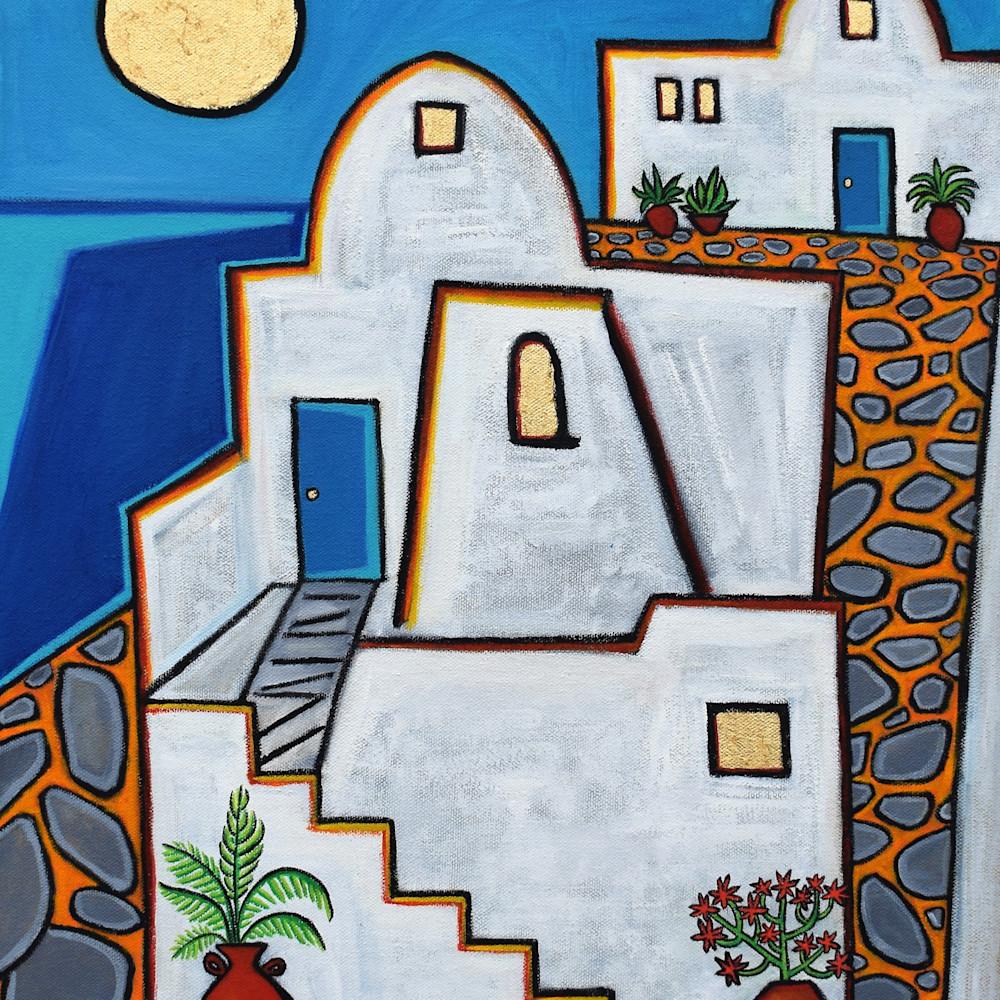 Santorini greek house oil painting artist paul zepeda wet paint nyc y9jecd