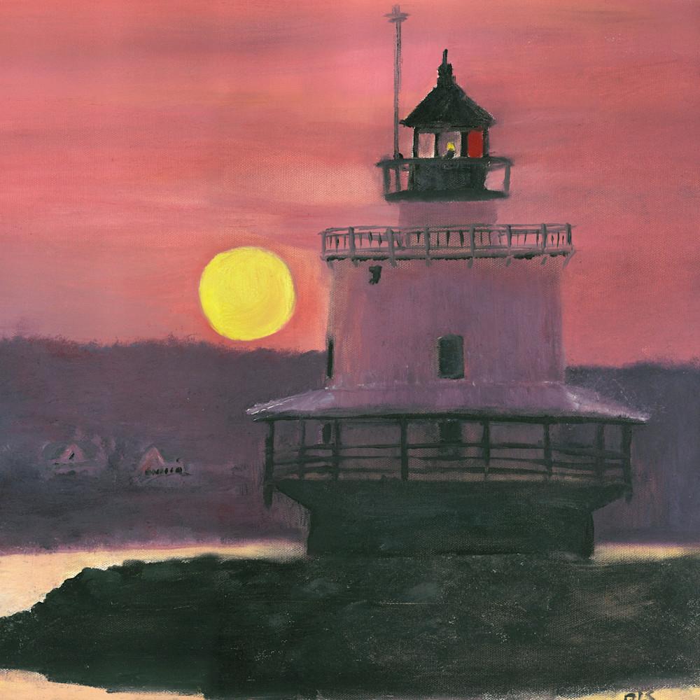 Lighthouse peach sunset vertical p72bzh