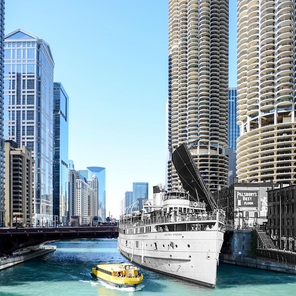 Dsc 9191 steamboat united states passing state street bridge chicago river chicago ill. 30x24 zdokgh