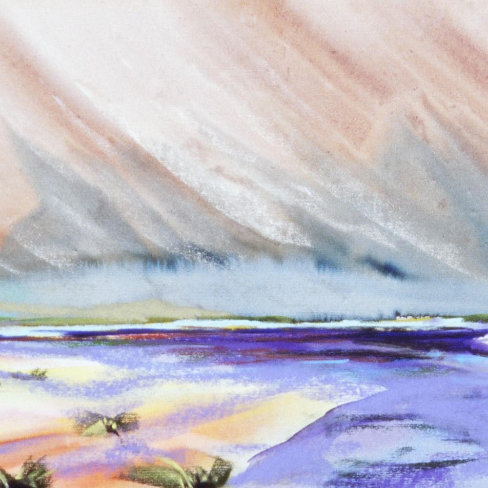 Umpqua river watercolor pastel 10x23in nc3vxy