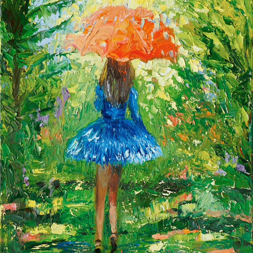 Umbrella girl blue dress orange umbrella 2246 n3sj3o