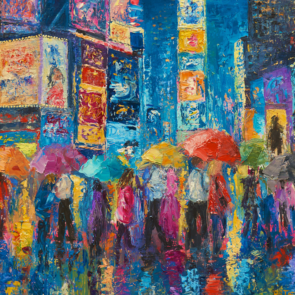 Lovers walk in times square rain ii cez954