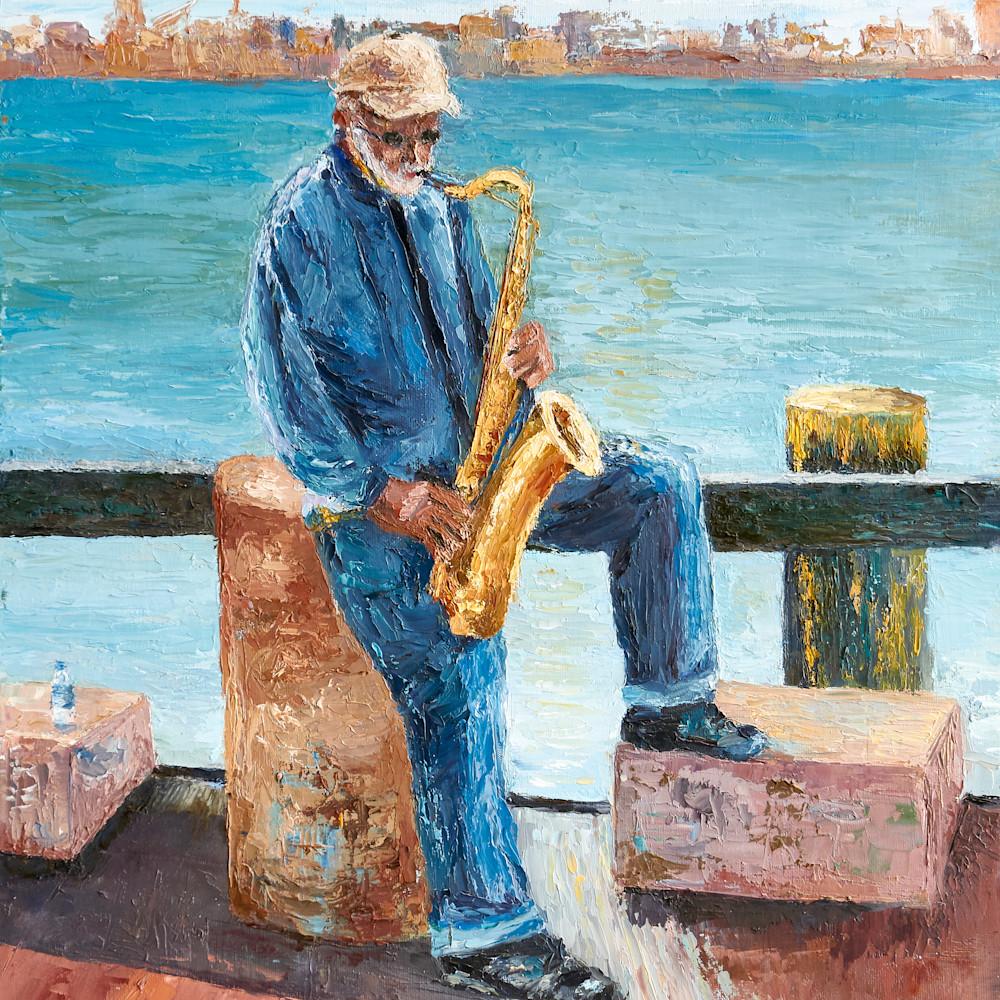 Sax player at savannah riverfront hnwgua