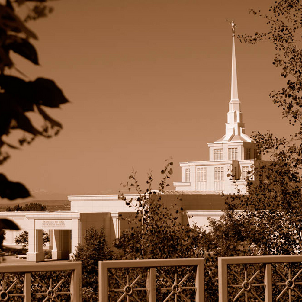 Hank delespinasse billings temple   fence foreground in sepia t93jdm