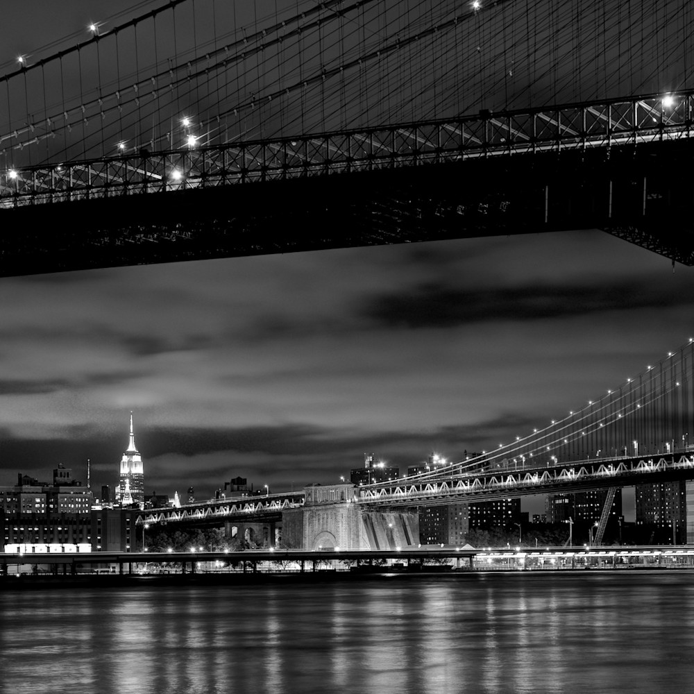 Two bridges brooklyn manhattan bridge brooklyn new york city ny usa black white ph9xxt