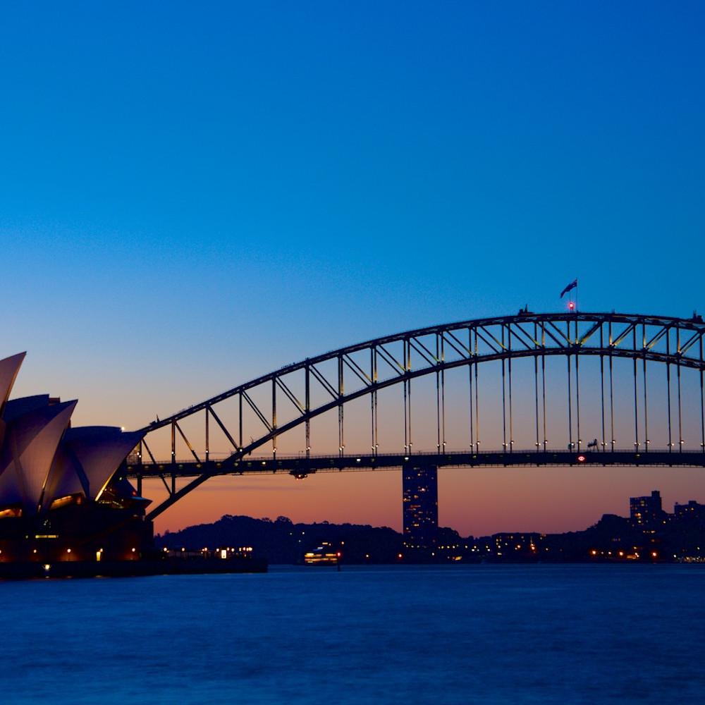 Sydneys icons sunset sydney habour bridge opera house australia landscape photo print zx0pkr