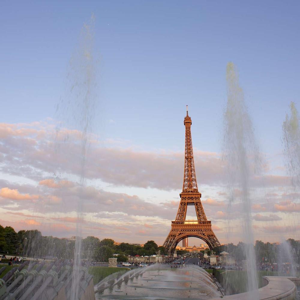 Golden tower eiffel tower paris france sunset landscape photo print vgvncr