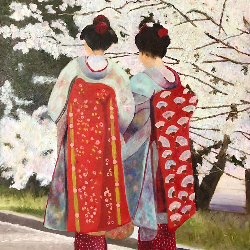 Geishas cherry blossoms bnzjlv