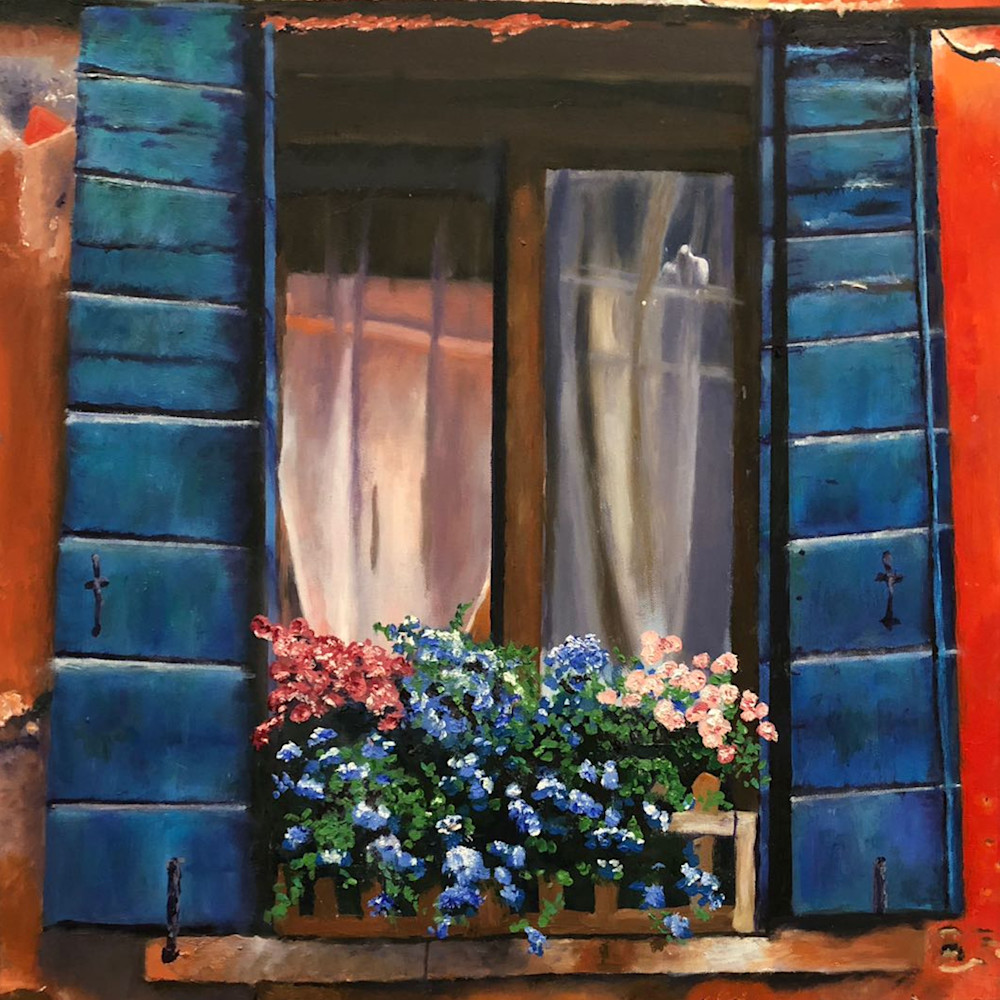 Old window with flowers y8nbxa