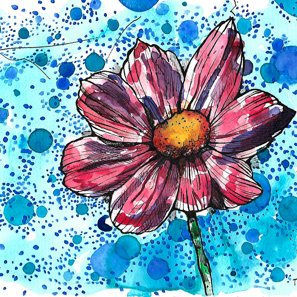 Flower with cerulean blue circles utisbu